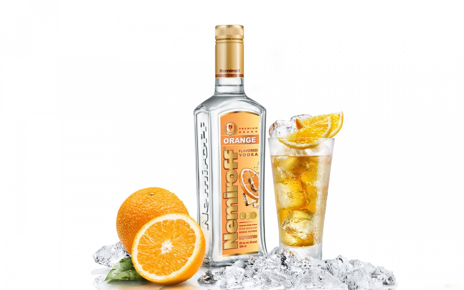 ice vodka alcohol oranges HD Wallpaper