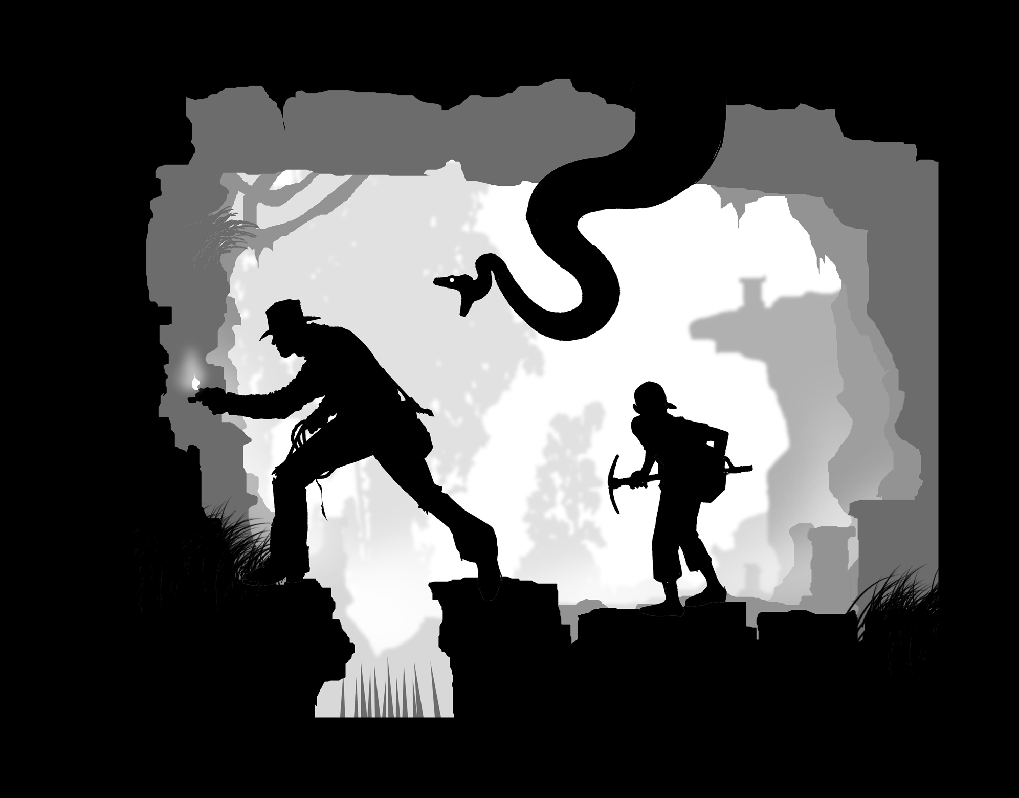 Indiana jones silhouette artwork HD Wallpaper