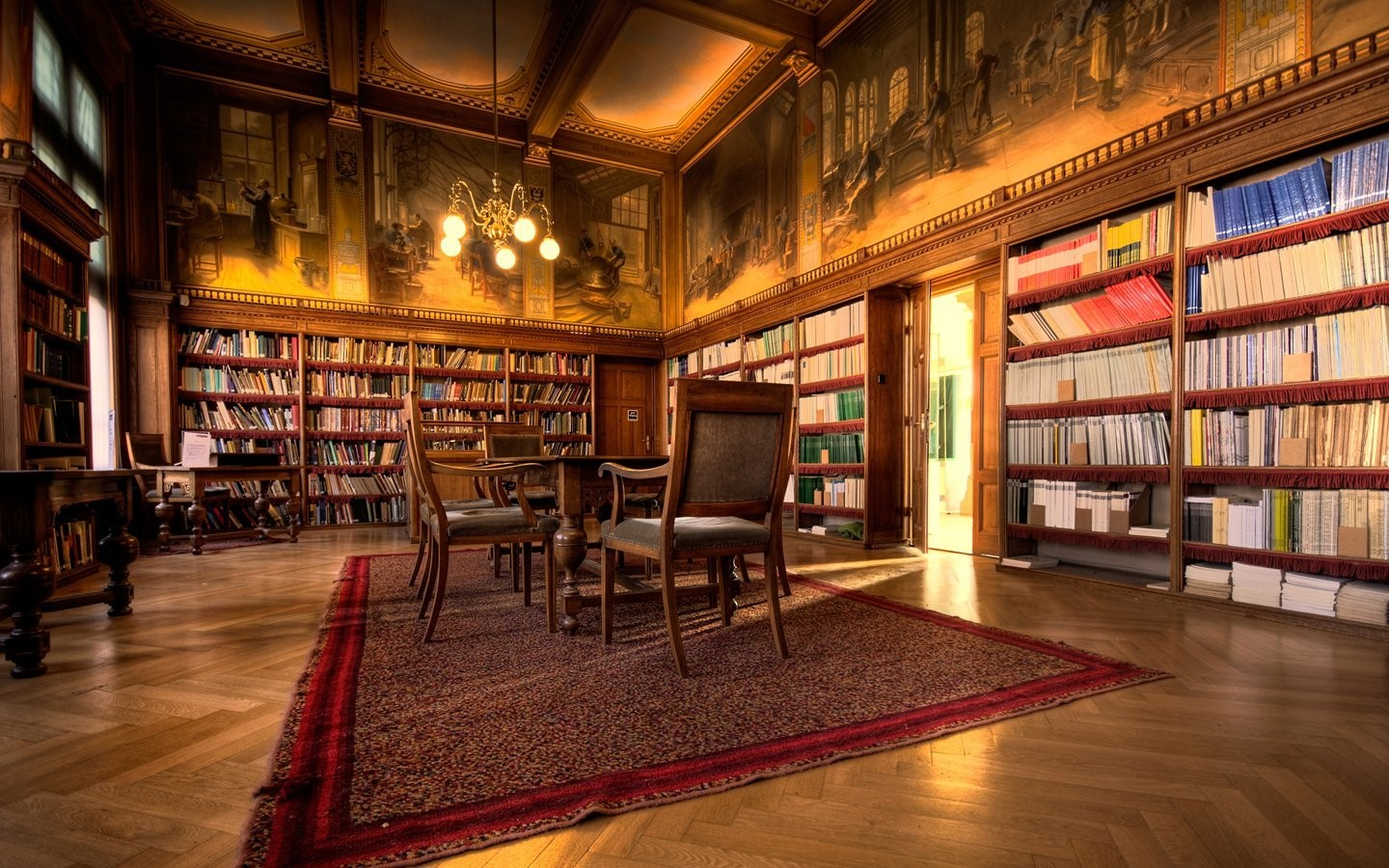 indoors room Library brown HD Wallpaper