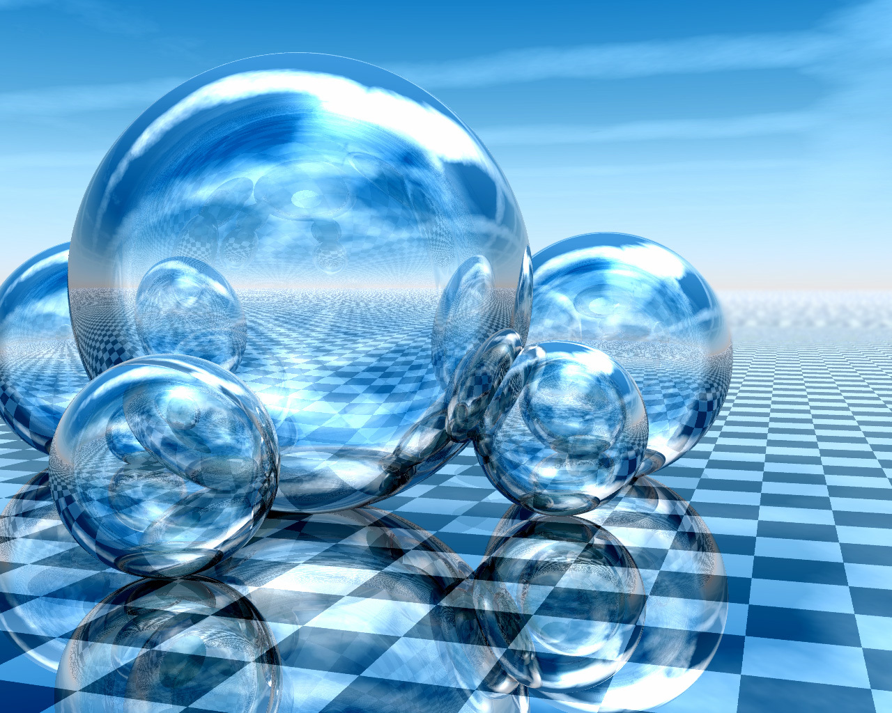 infinite checkers blue spheres HD Wallpaper