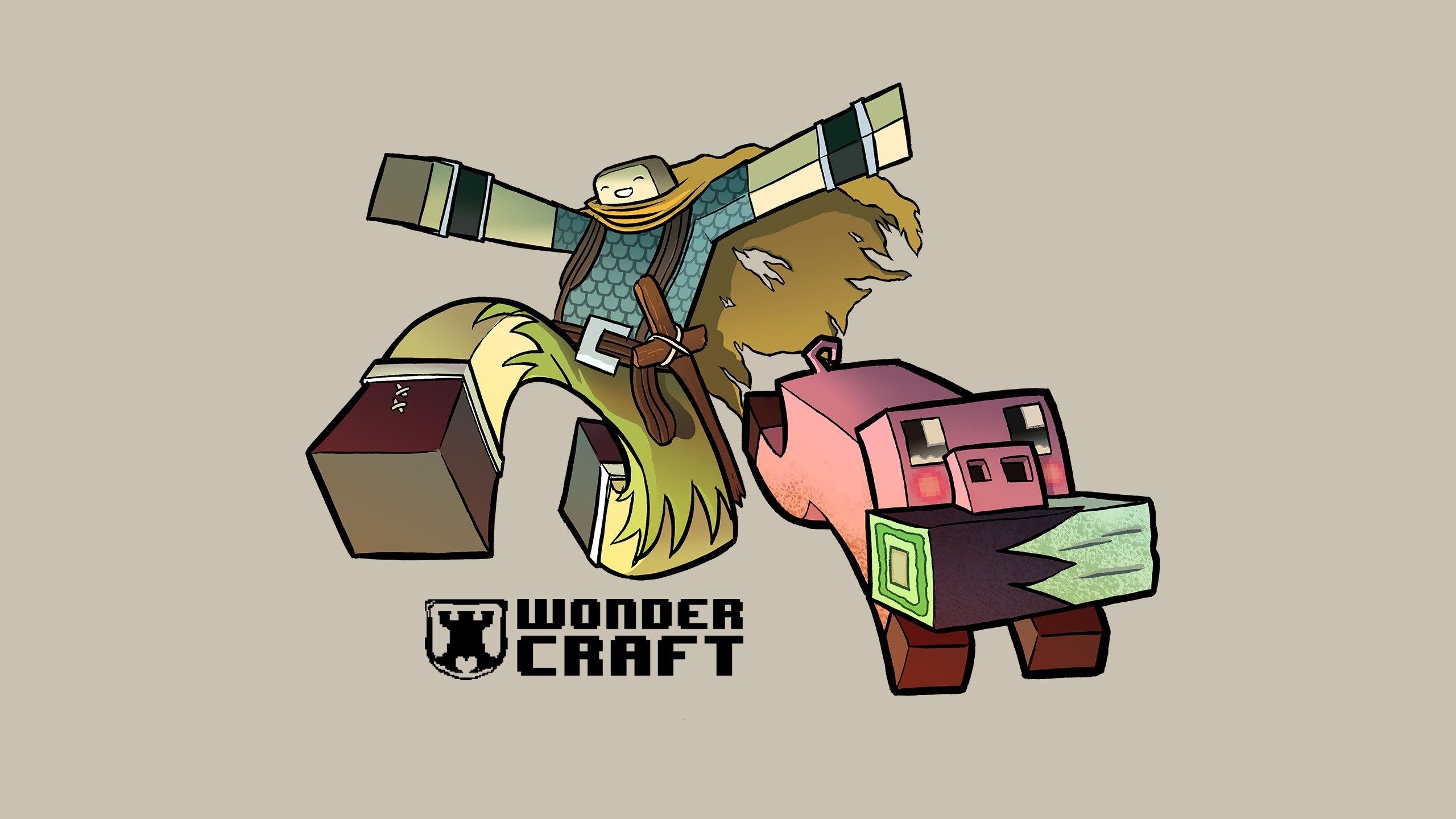 jumping steve minecraft pigs HD Wallpaper