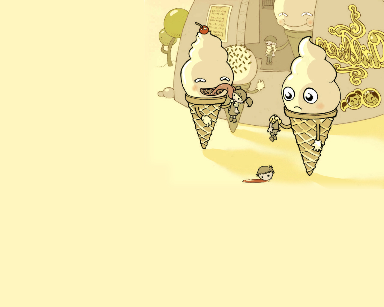 kid scary eating icecreams HD Wallpaper