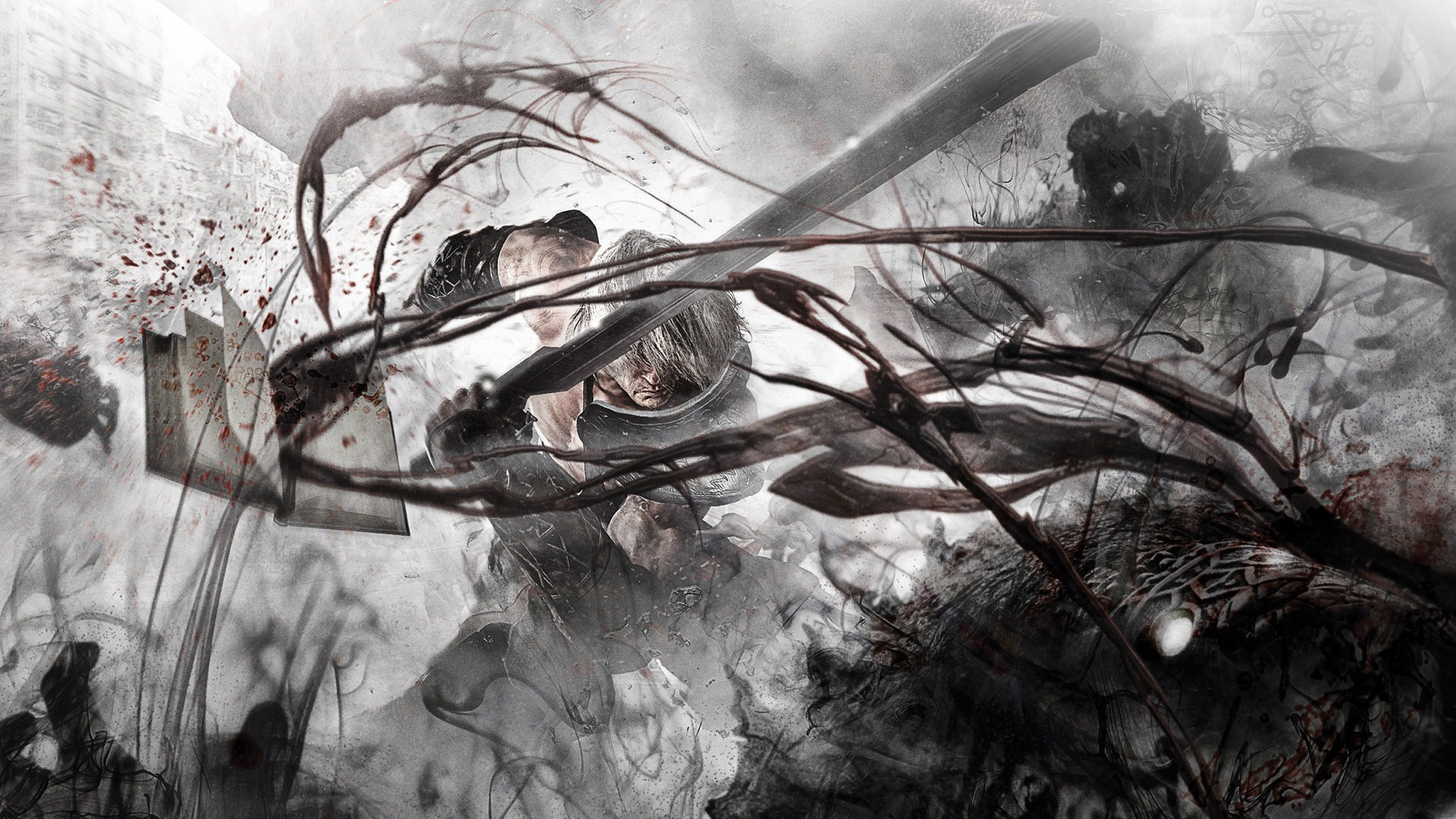 Knights Fighting blood nier HD Wallpaper