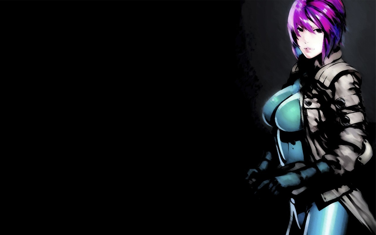 Kusanagi Motoko purple hair HD Wallpaper