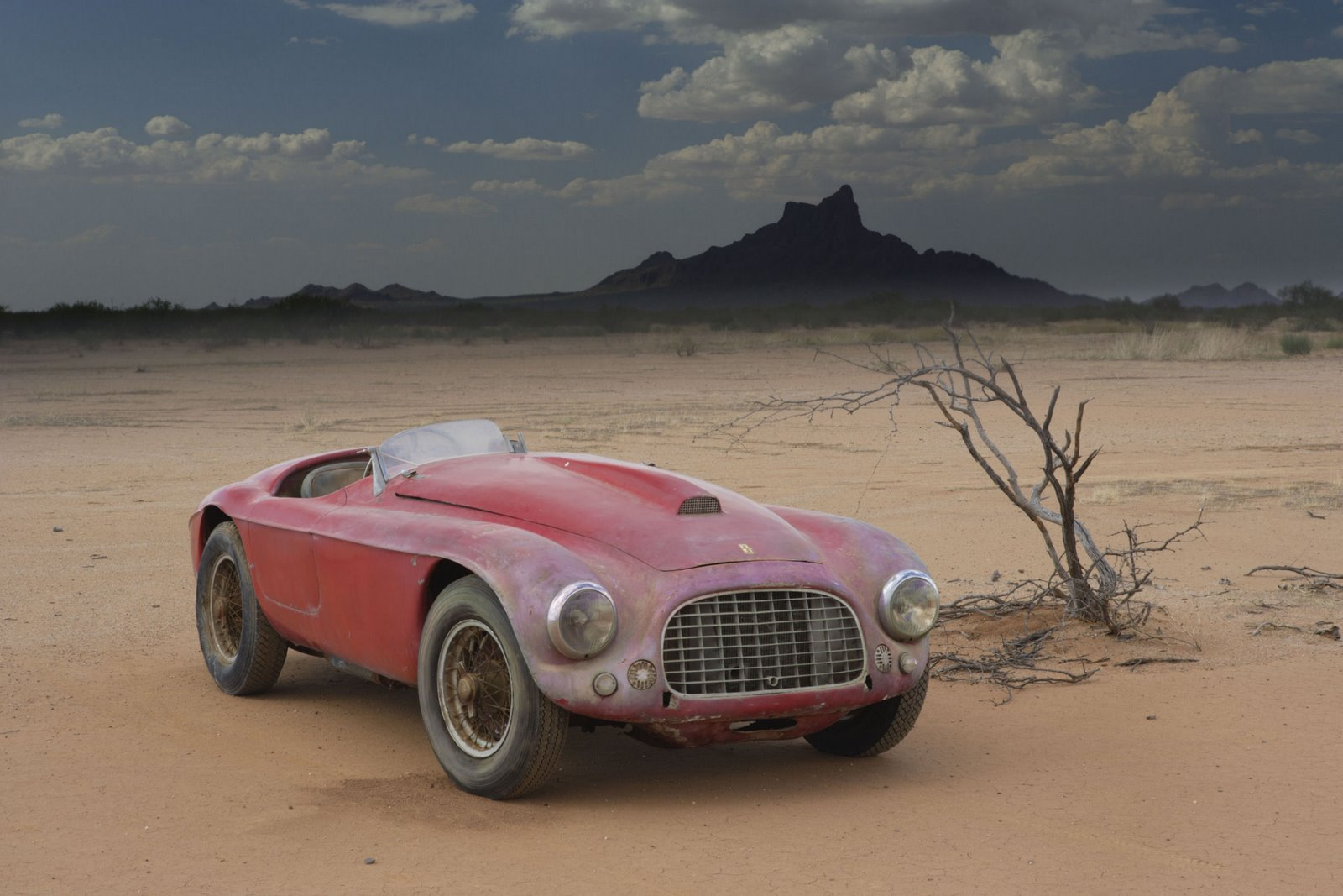 Landscapes cars deserts Ferrari HD Wallpaper