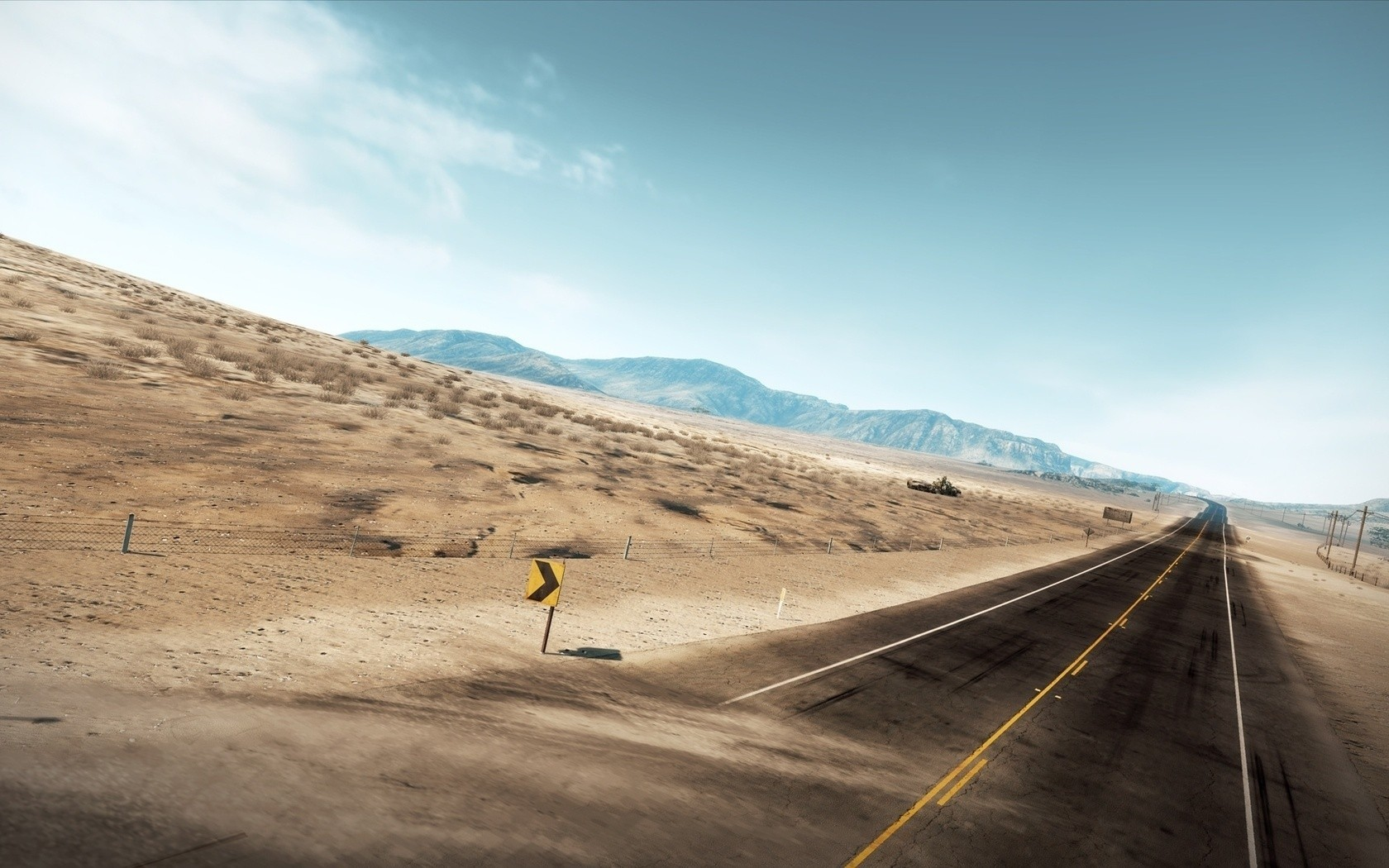 Landscapes deserts roads blue HD Wallpaper