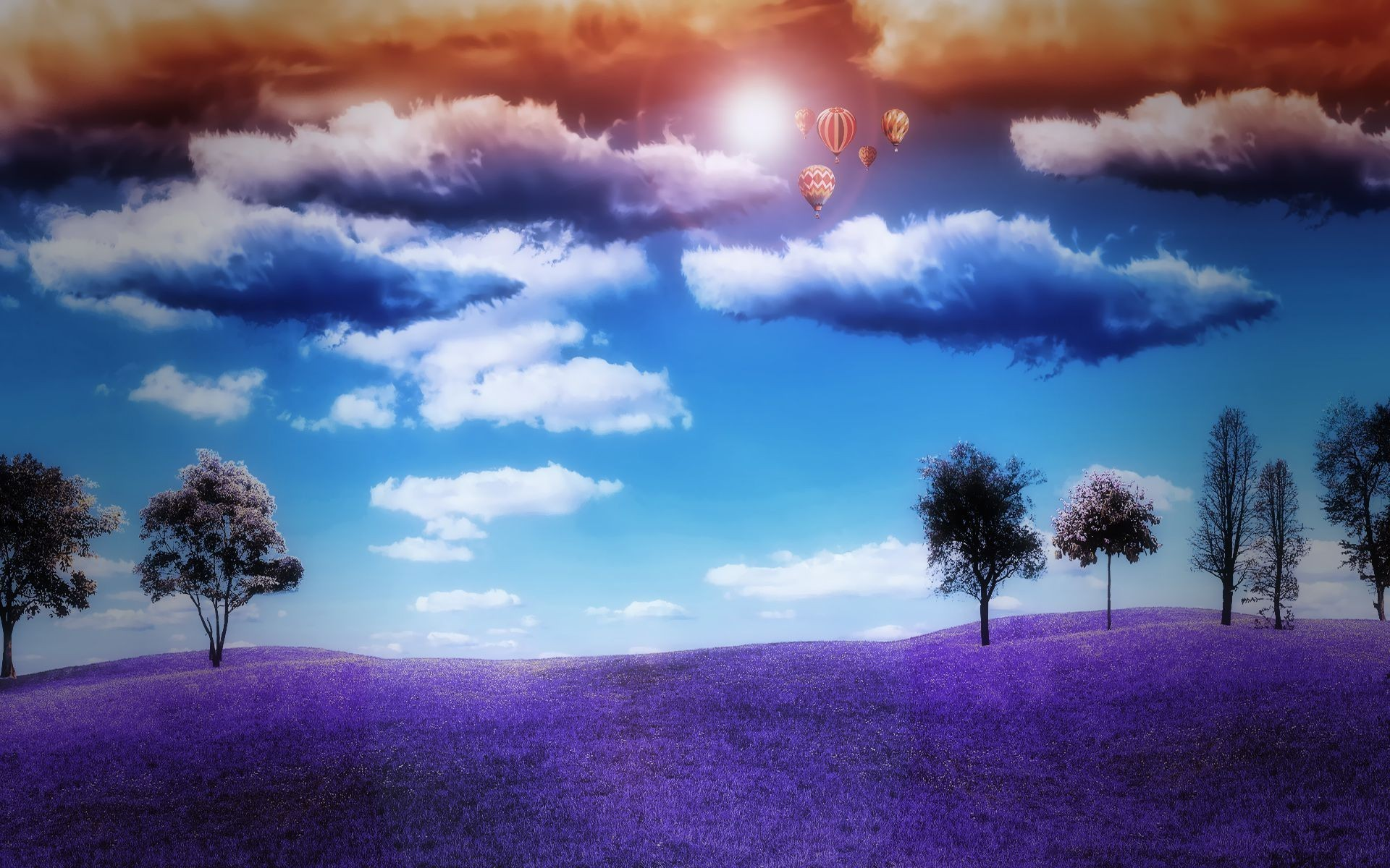 Landscapes digital art Balloons HD Wallpaper
