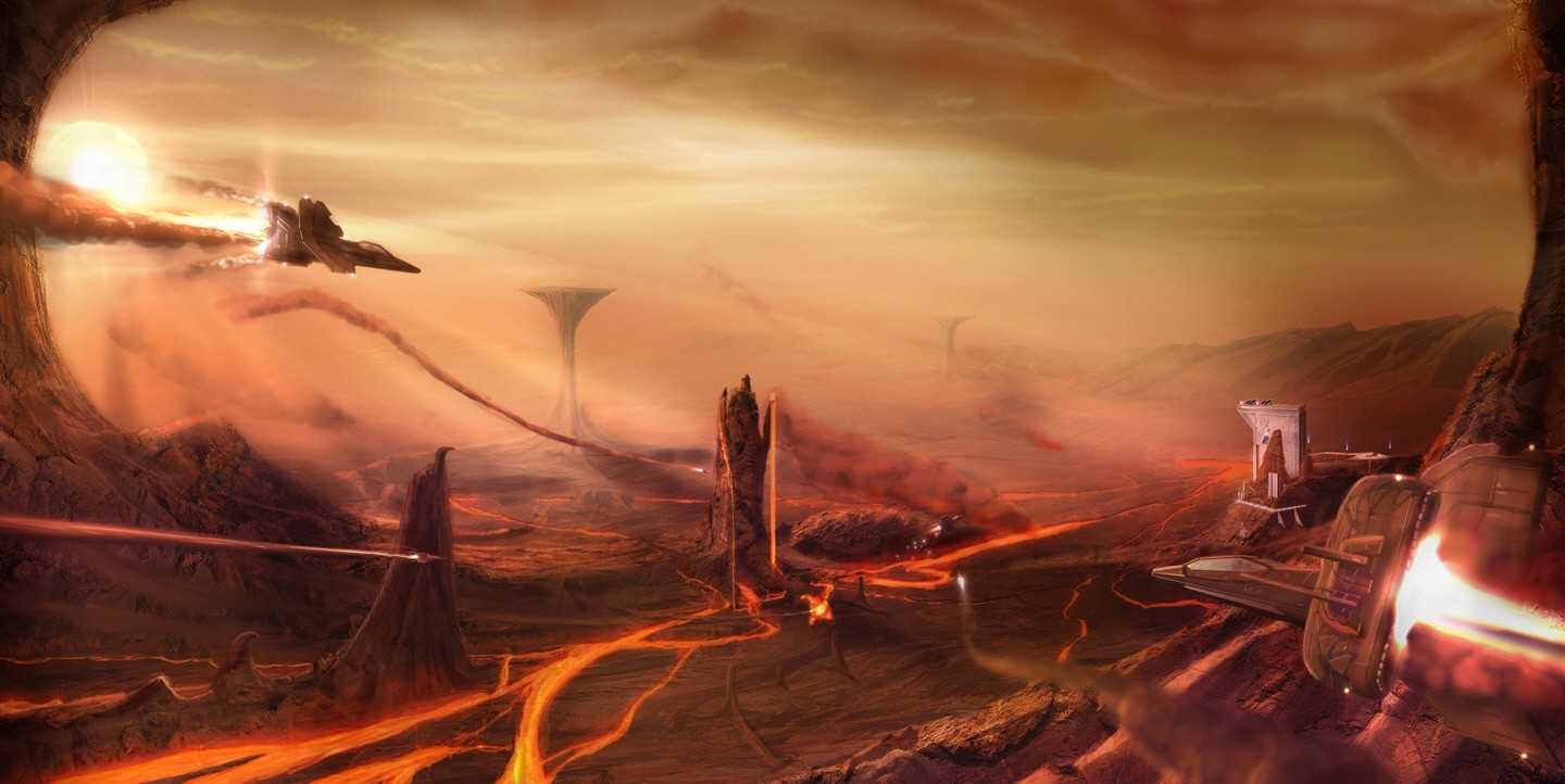 Landscapes futuristic lava spaceships HD Wallpaper
