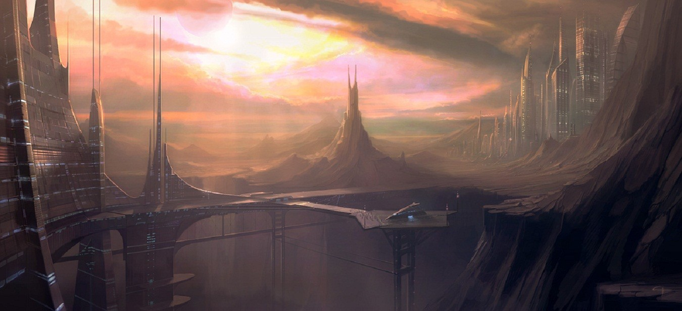 Landscapes futuristic spaceships concept HD Wallpaper