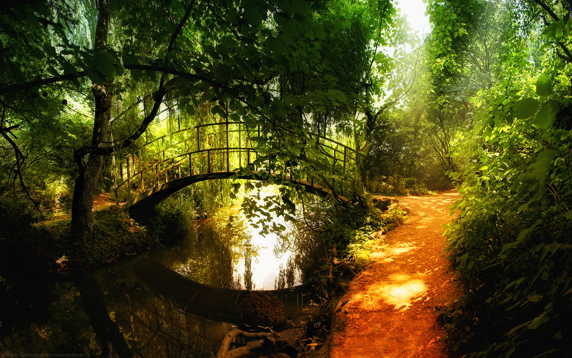 Landscapes nature Garden Bridges HD Wallpaper