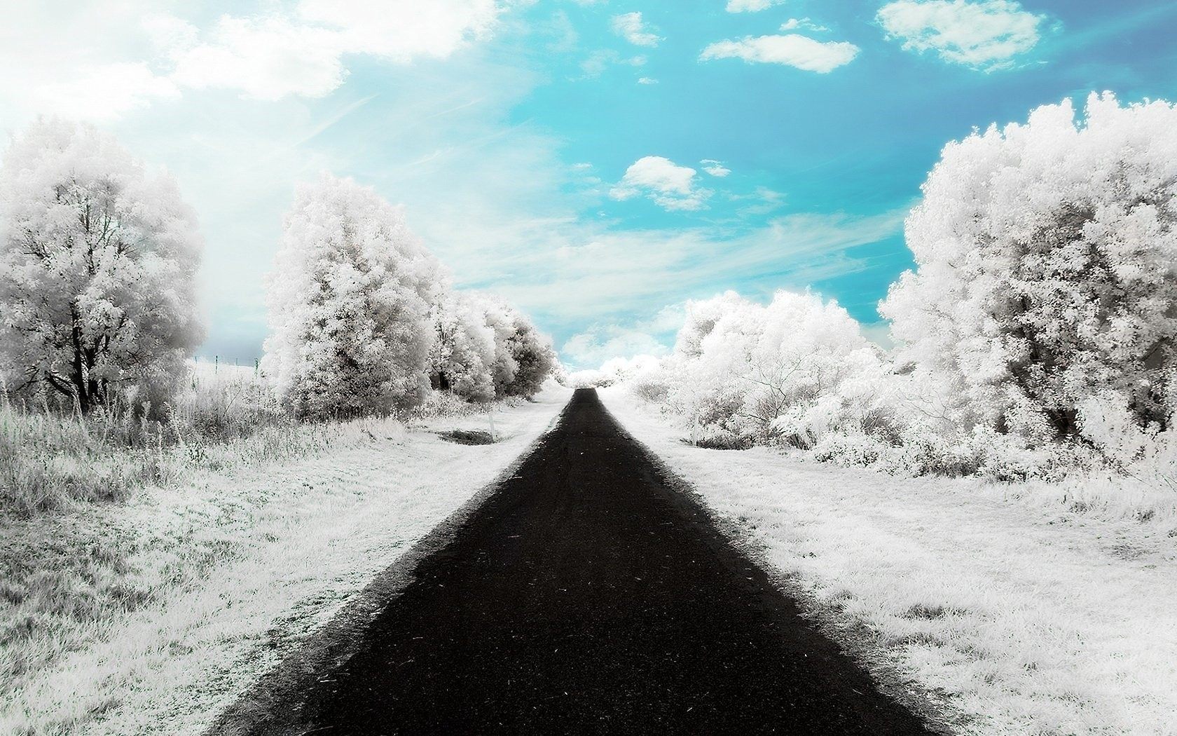 Landscapes nature snow roads HD Wallpaper