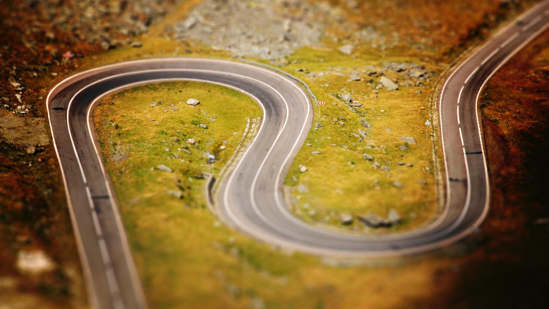 Landscapes roads tilt-shift curved HD Wallpaper