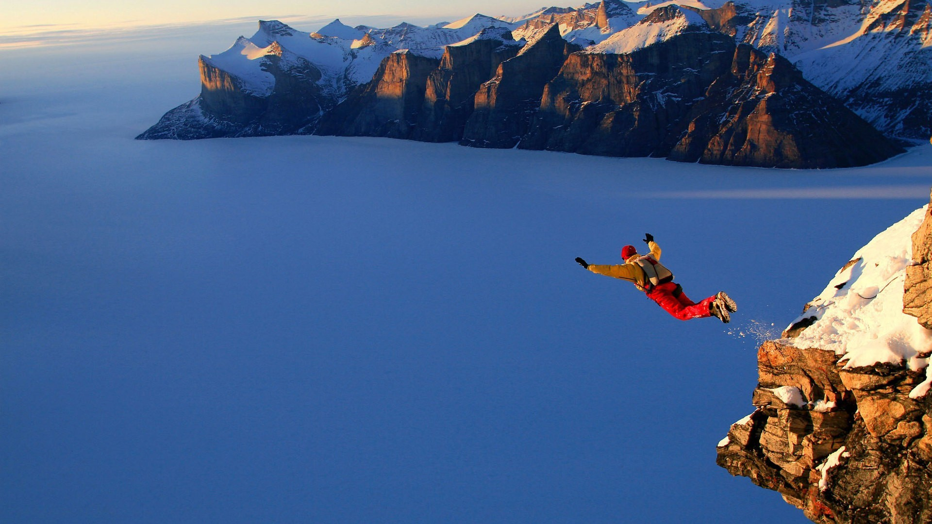 Landscapes snow jumping base HD Wallpaper
