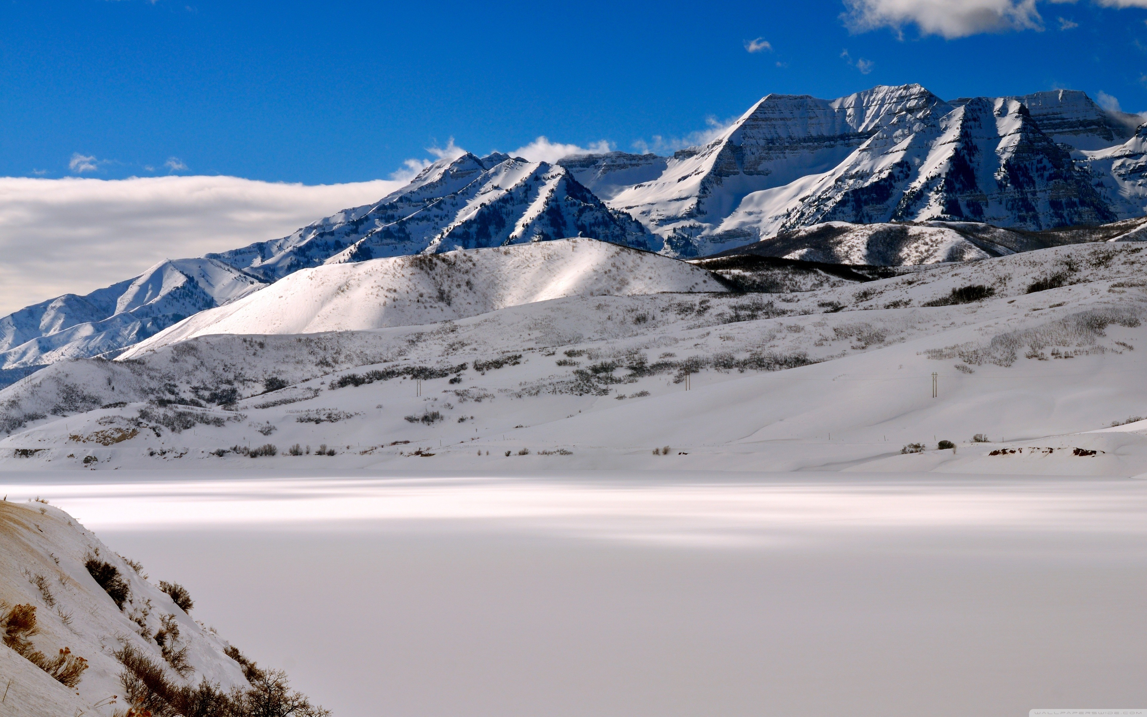 Landscapes snow Utah mount HD Wallpaper