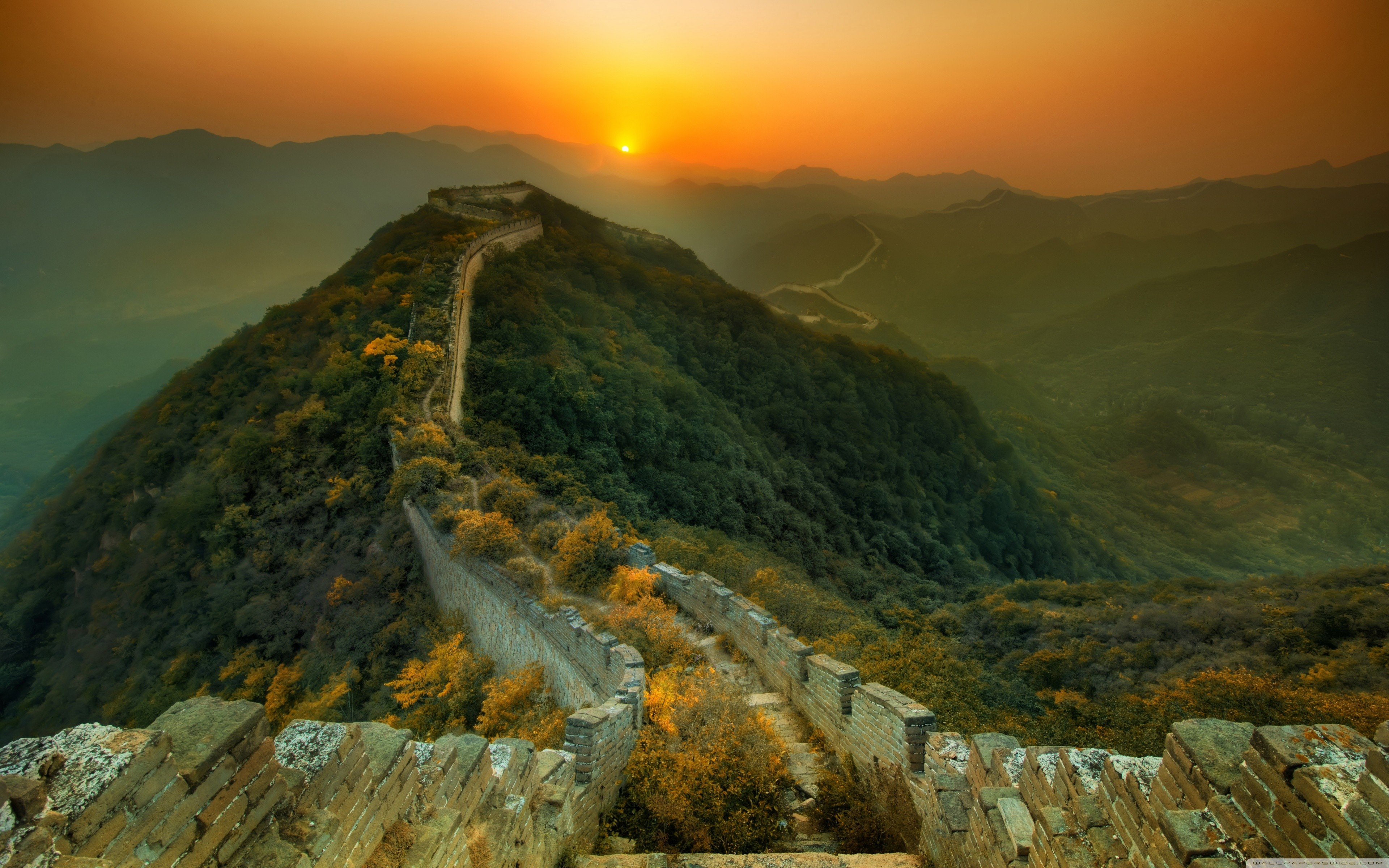 Landscapes sunrise sunset wall China