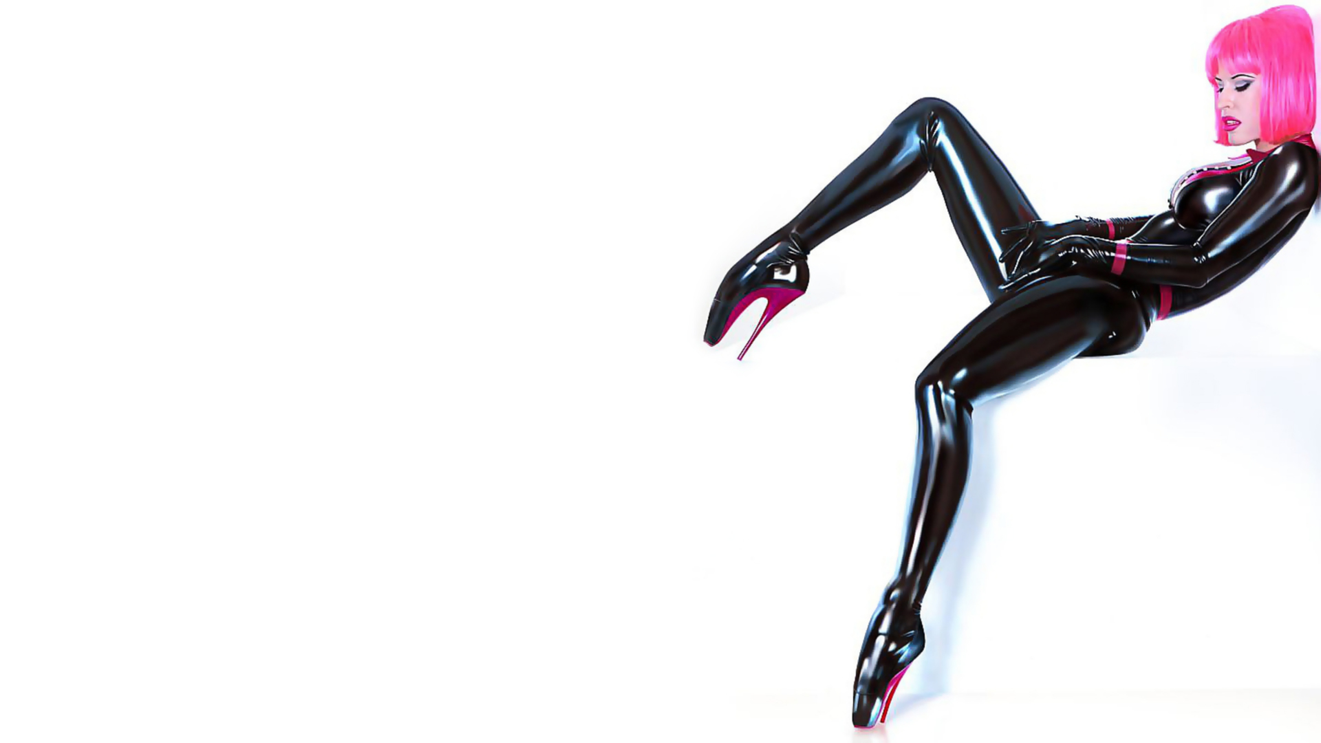 latex catsuits pink hair HD Wallpaper