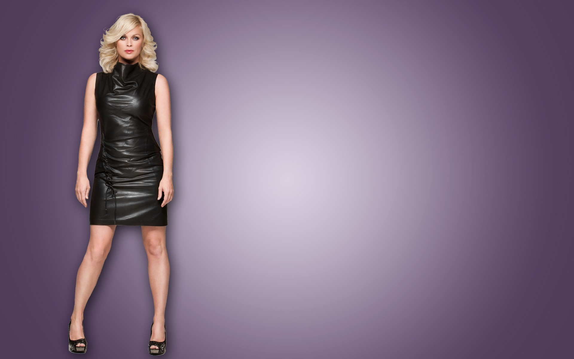 leather blondes legs woman HD Wallpaper