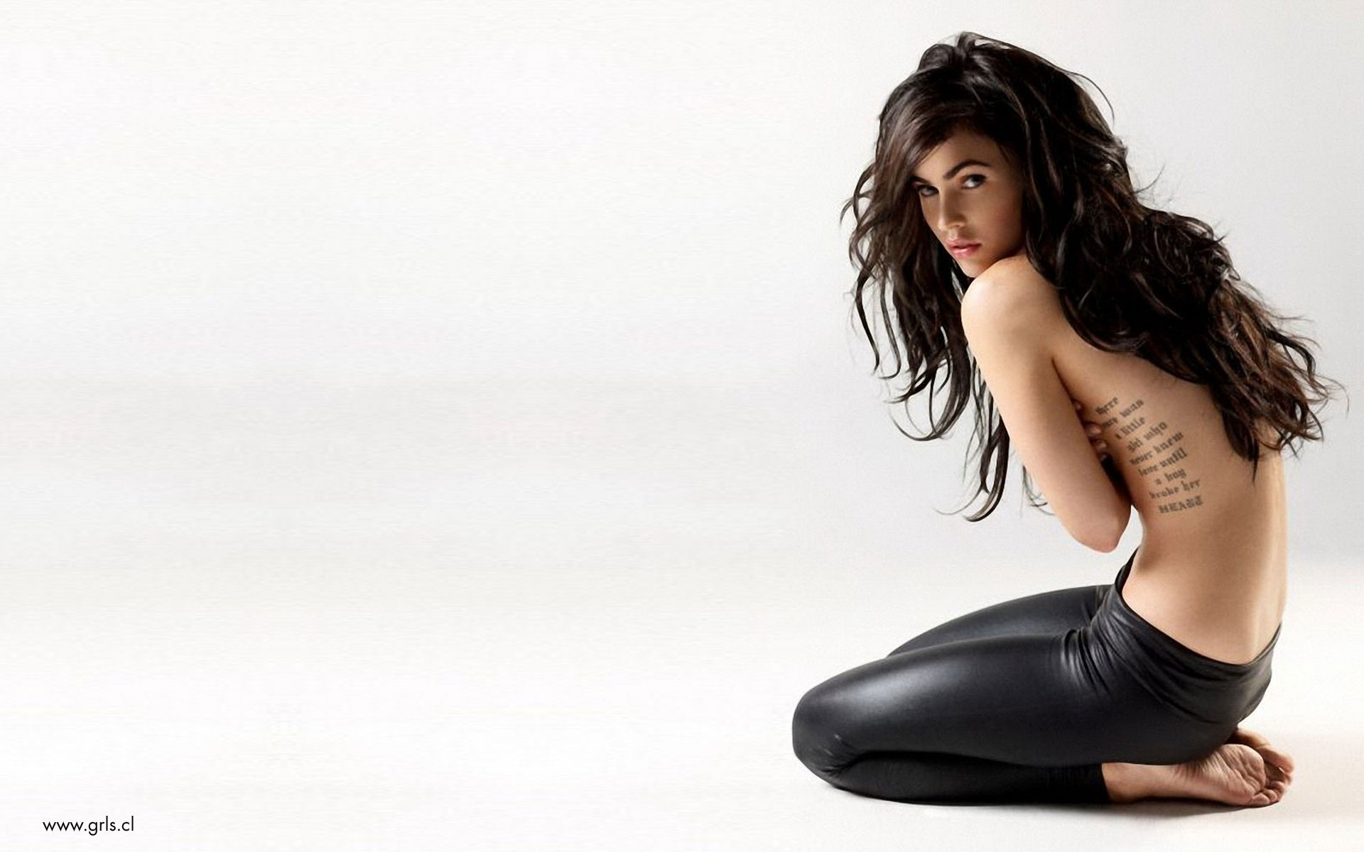 leather brunettes woman Megan HD Wallpaper