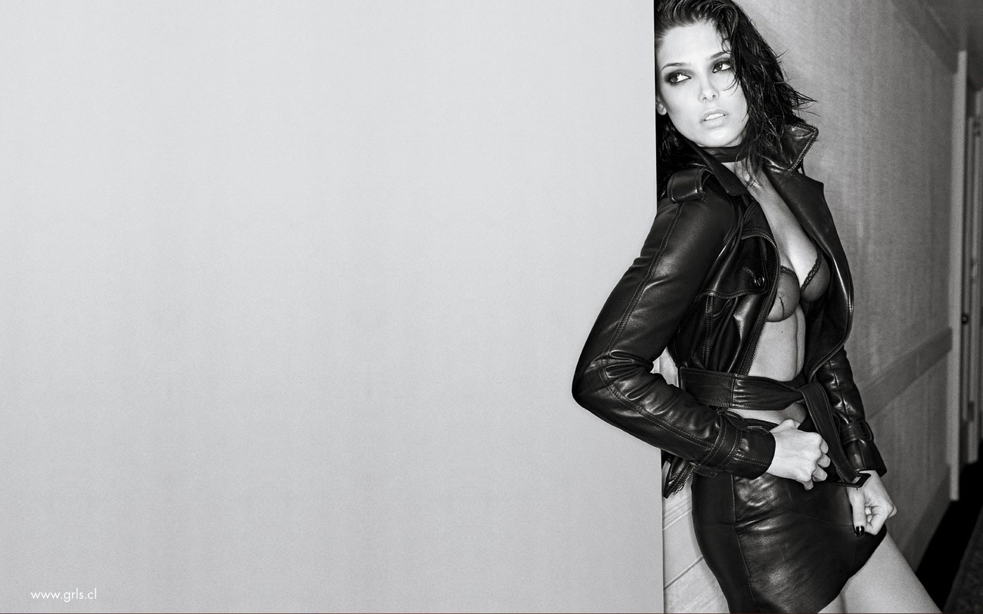 leather woman ashley greene HD Wallpaper