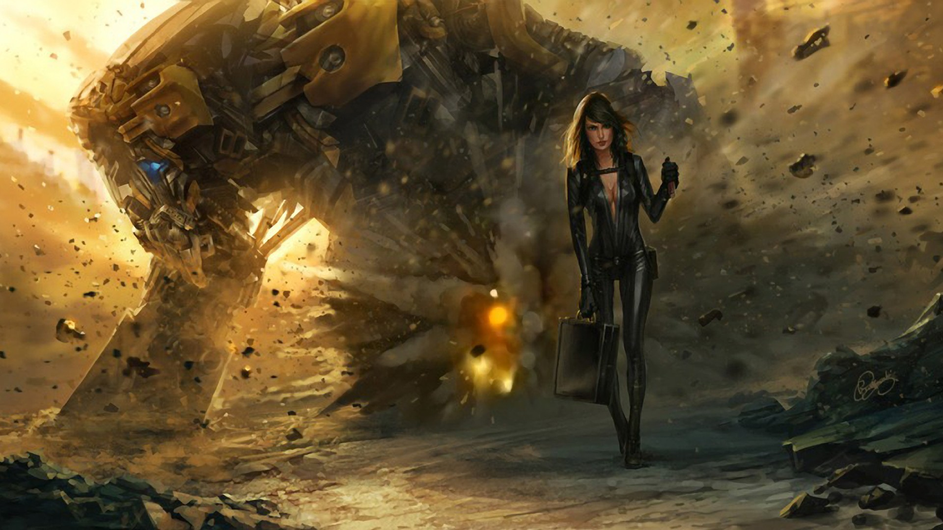 leather woman fantasy Landscapes HD Wallpaper