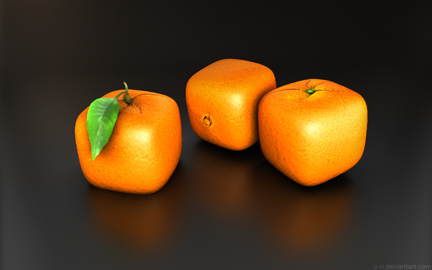 leaves design oranges cubes HD Wallpaper