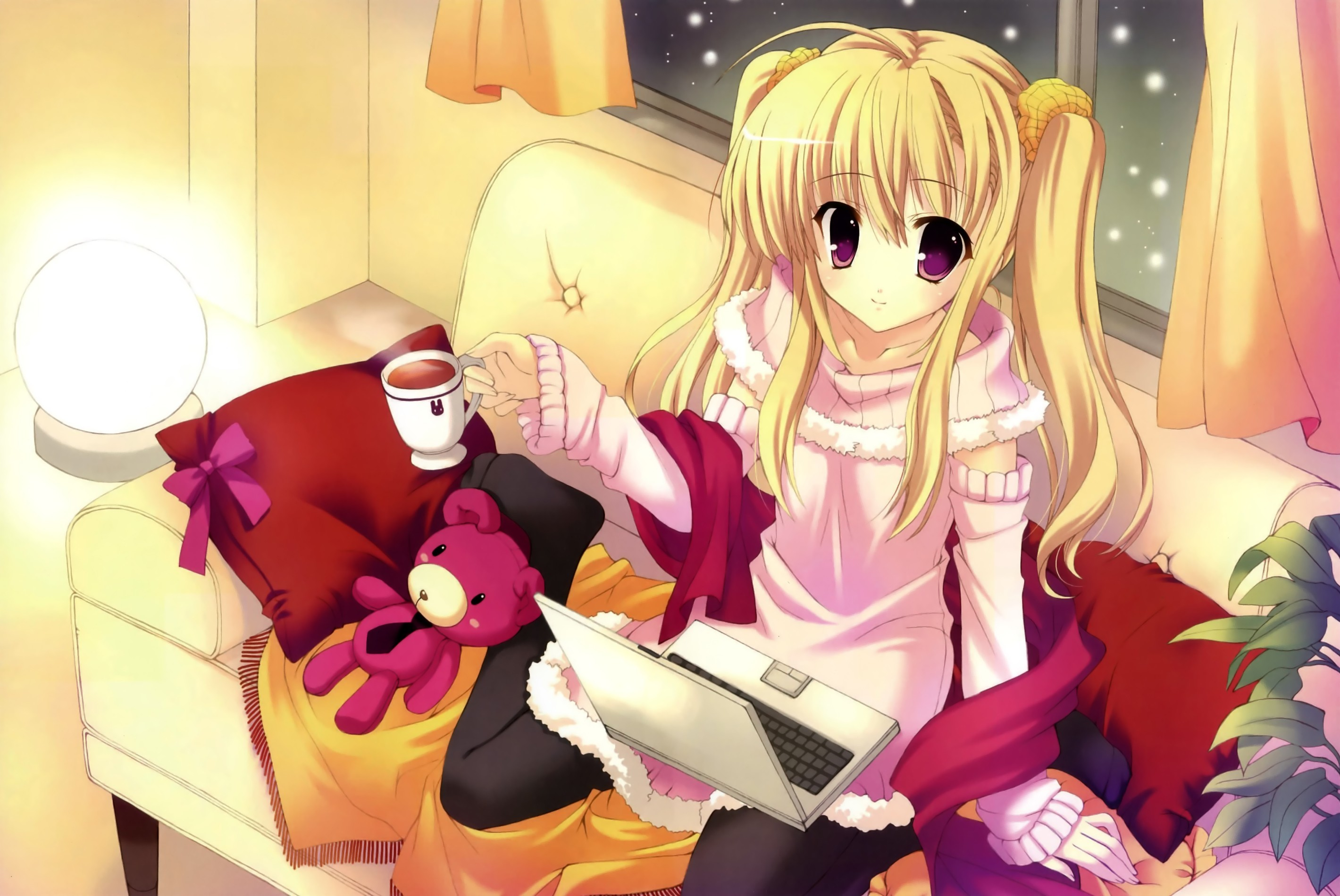 light blondes snow couch HD Wallpaper