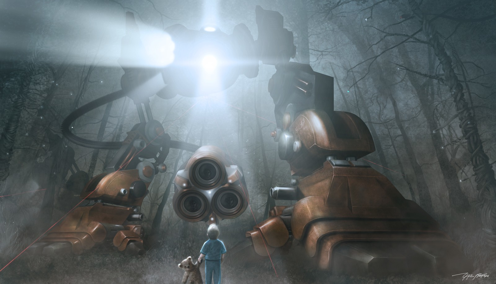light robot Robots futuristic HD Wallpaper