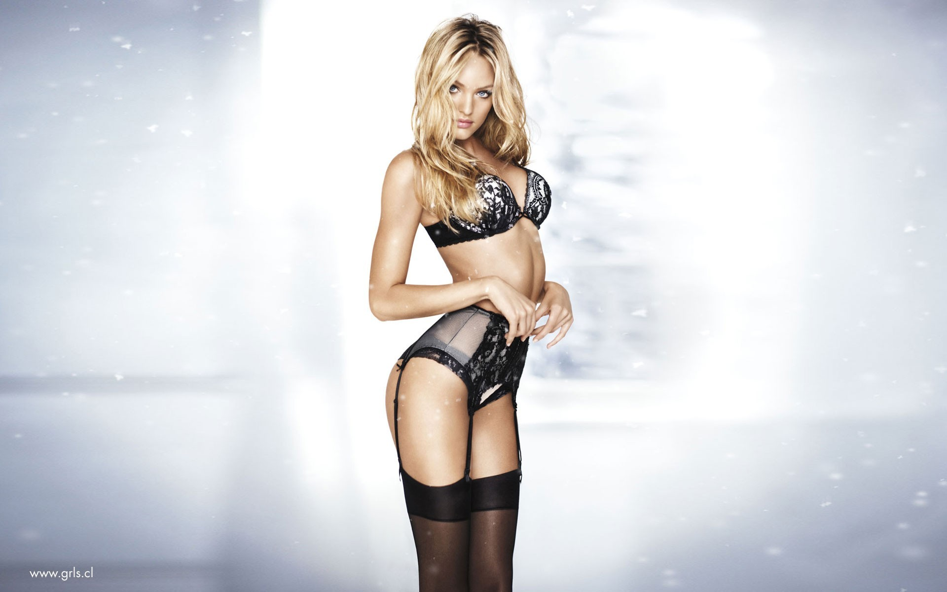 lingerie blondes woman stockings HD Wallpaper
