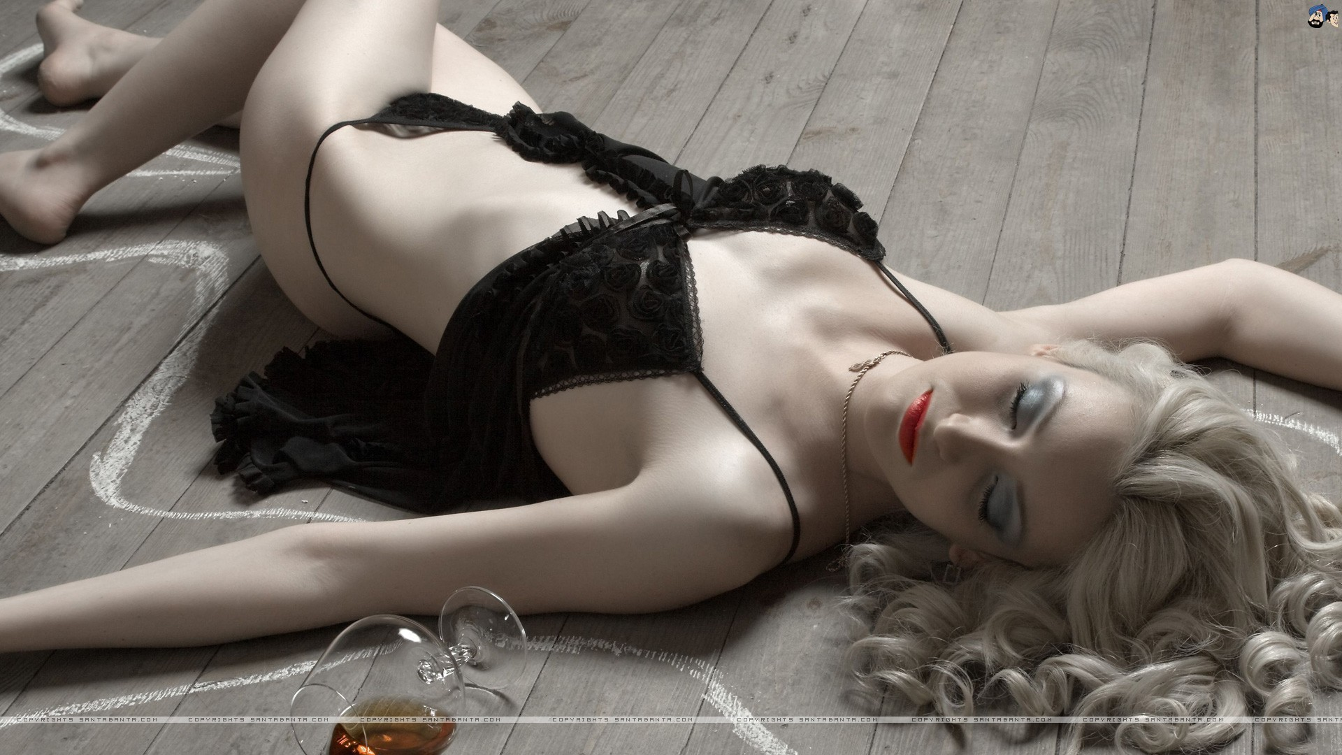 lingerie blondes Women models HD Wallpaper