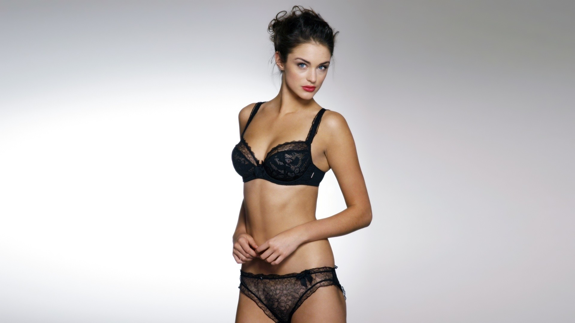 lingerie brunettes woman panties HD Wallpaper