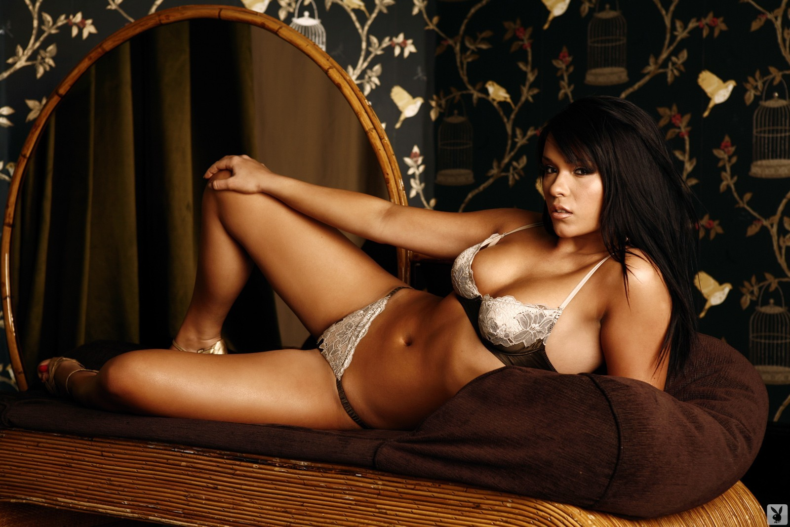 lingerie brunettes woman Playboy HD Wallpaper