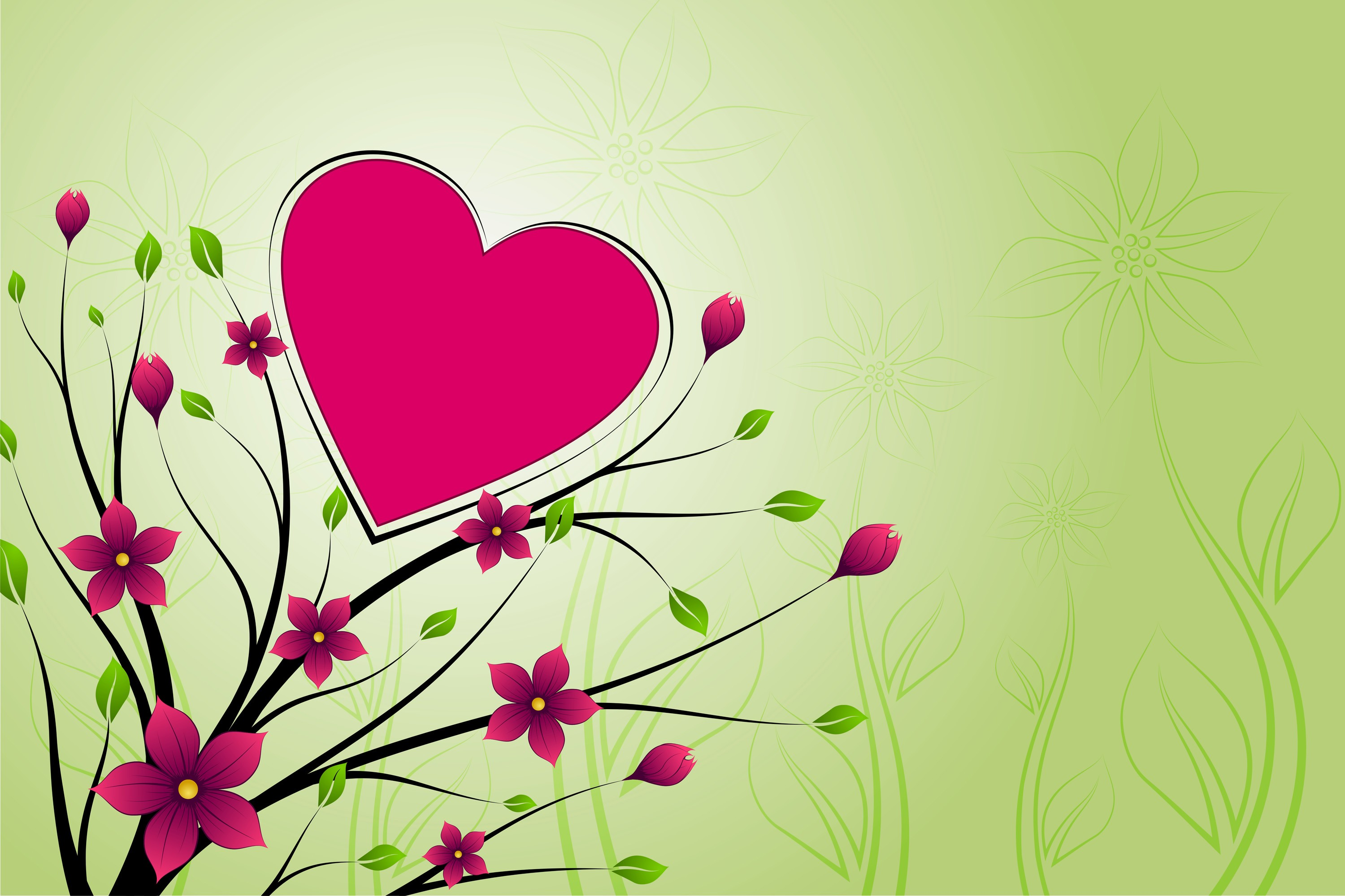 love Hearts floral HD Wallpaper