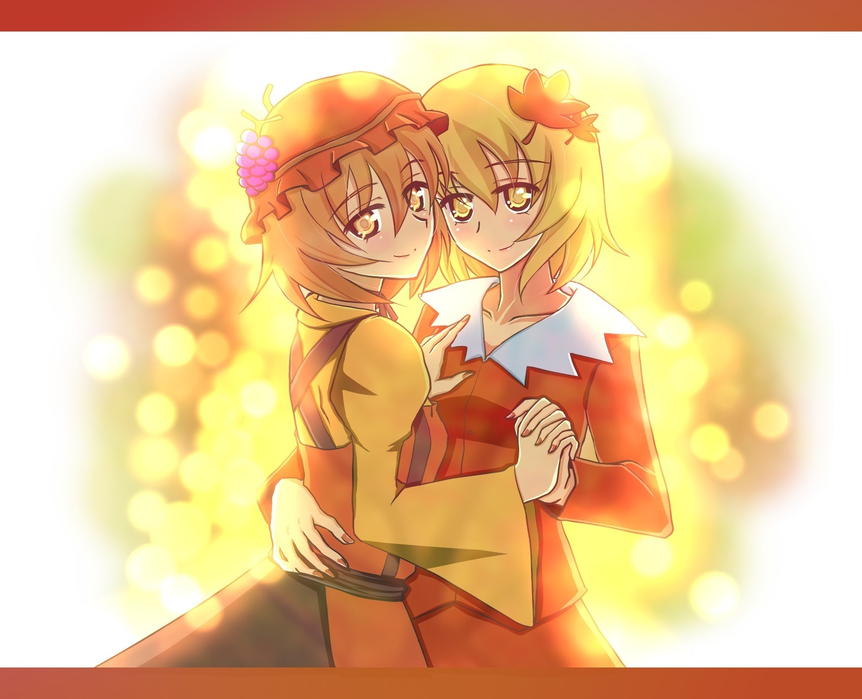 love touhou twins couple HD Wallpaper