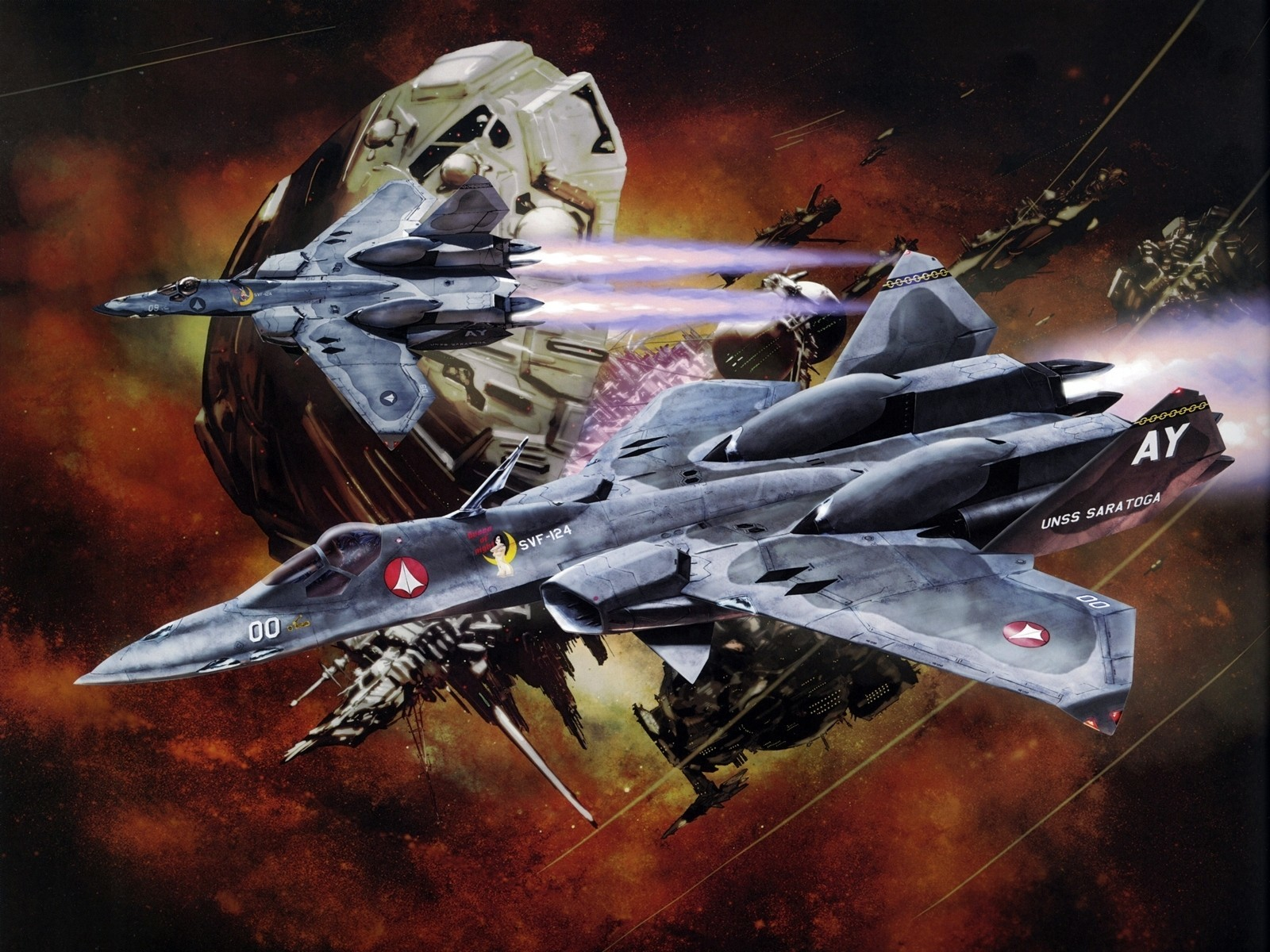 macross mecha planes Space HD Wallpaper