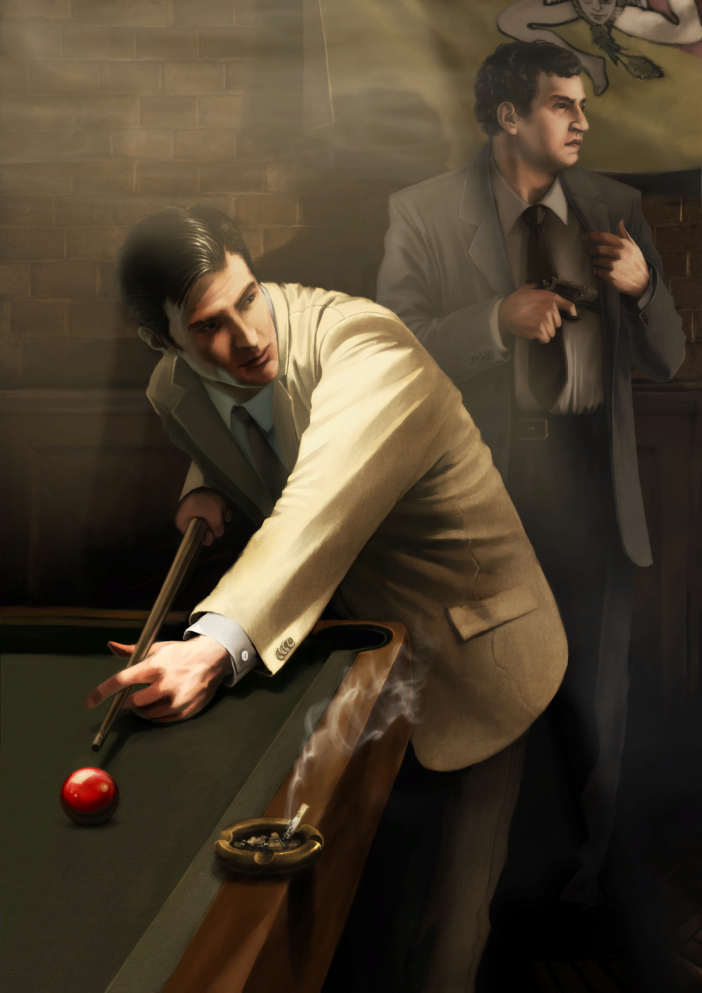 mafia Gentlemen realistic billiards HD Wallpaper