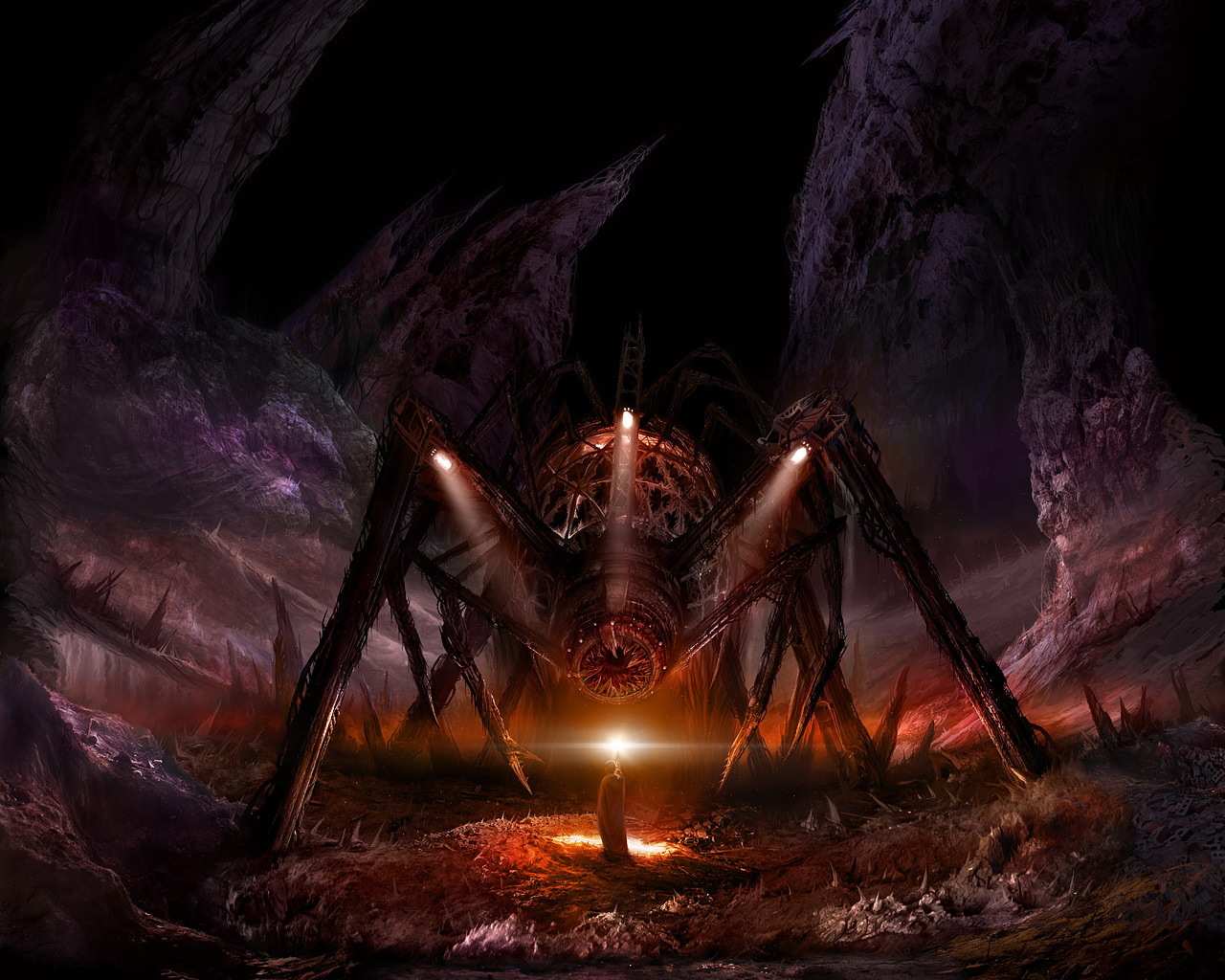 mage fantasy art spiders
