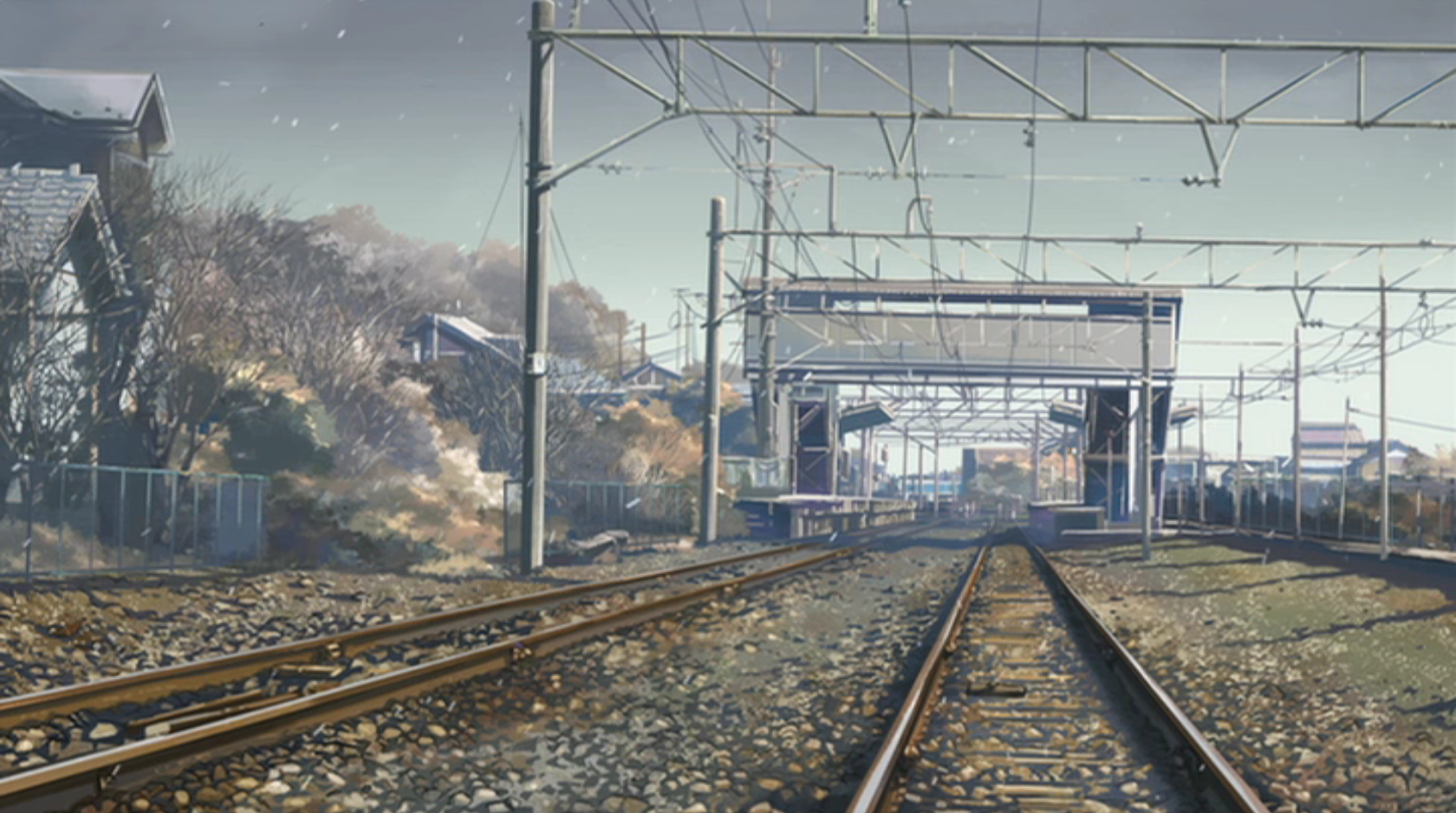 makoto shinkai railroad tracks HD Wallpaper