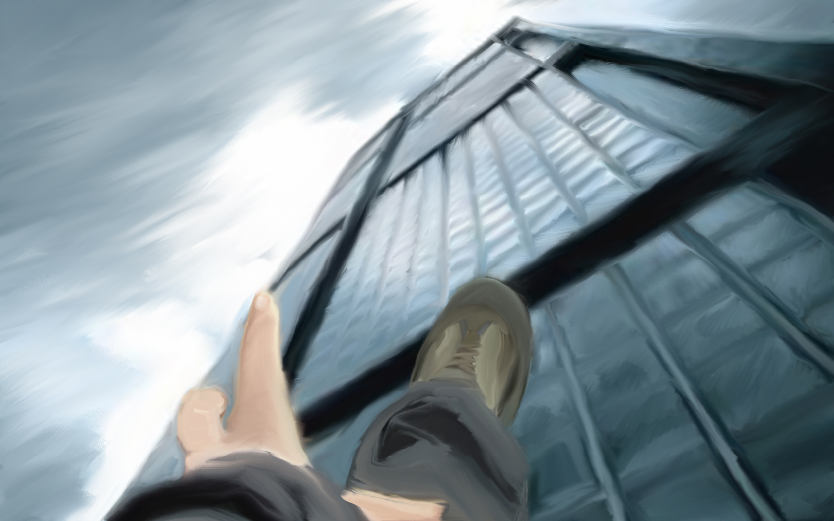 man falling from building HD Wallpaper