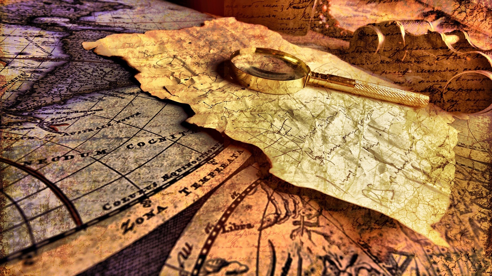 Maps cartography magnifying glass HD Wallpaper