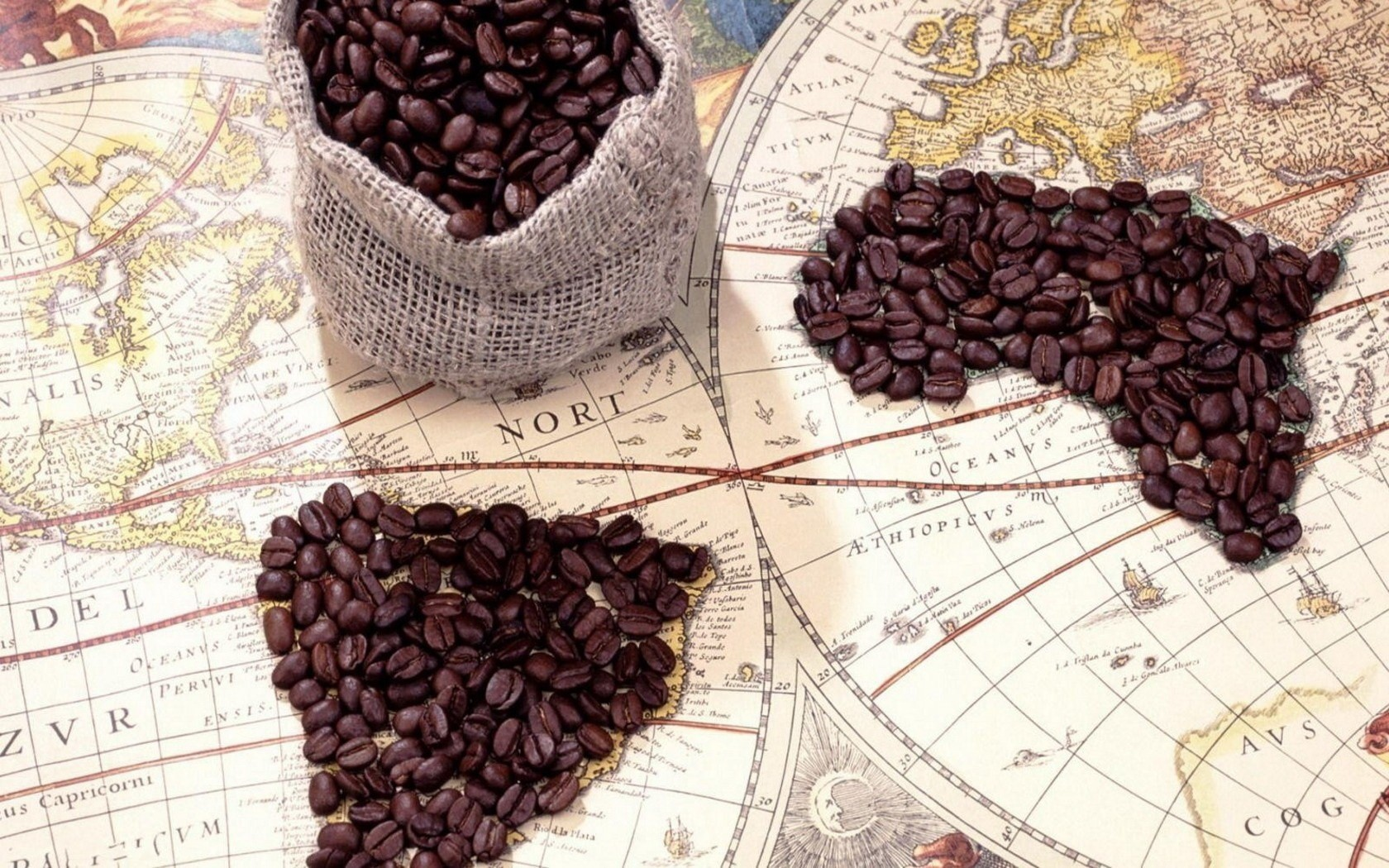 Maps Coffee Beans HD Wallpaper