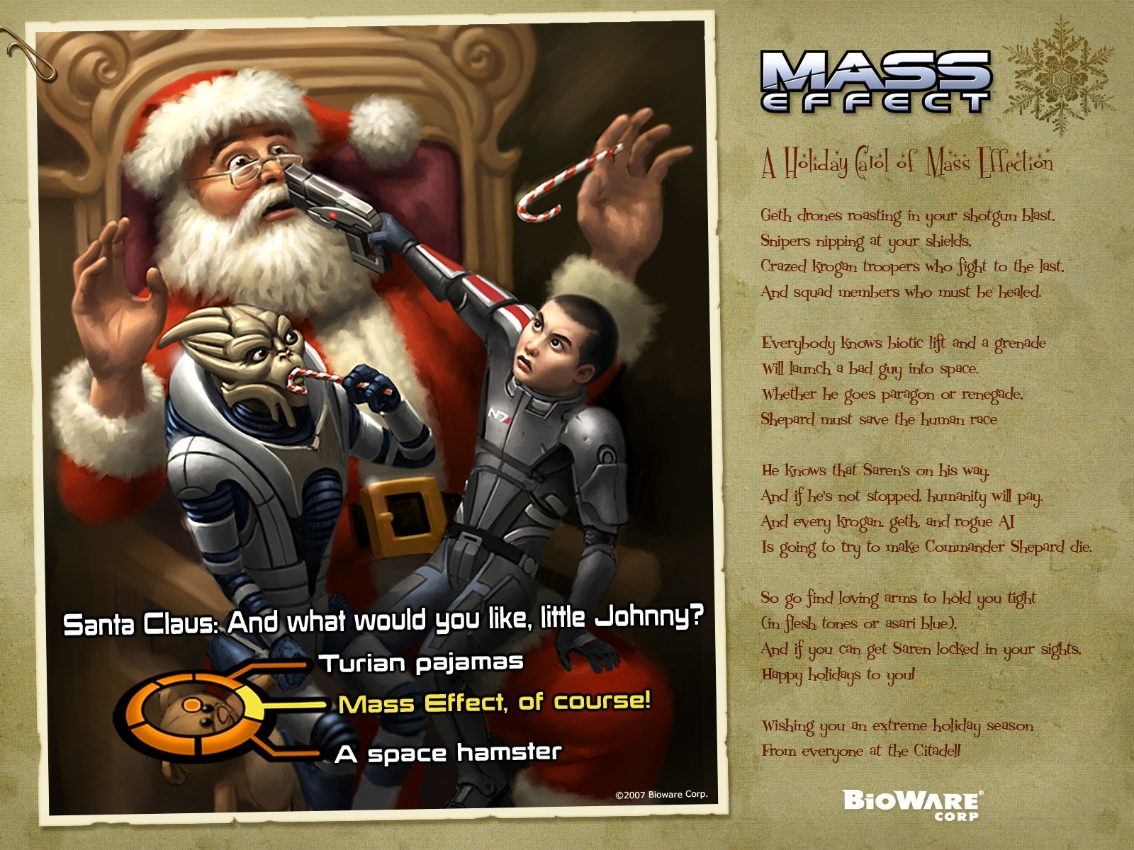 mass effect santa claus HD Wallpaper