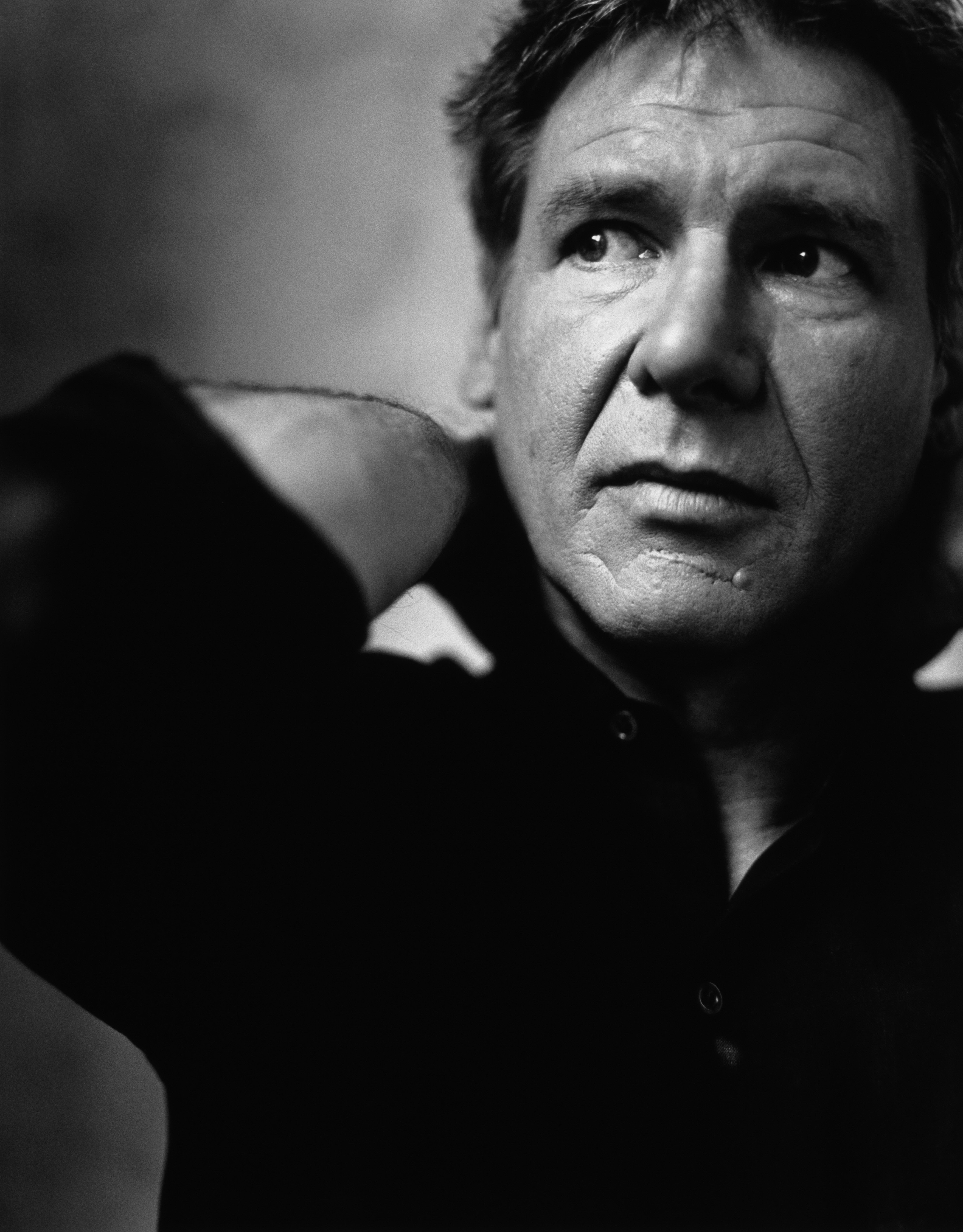 Men grayscale harrison Ford HD Wallpaper