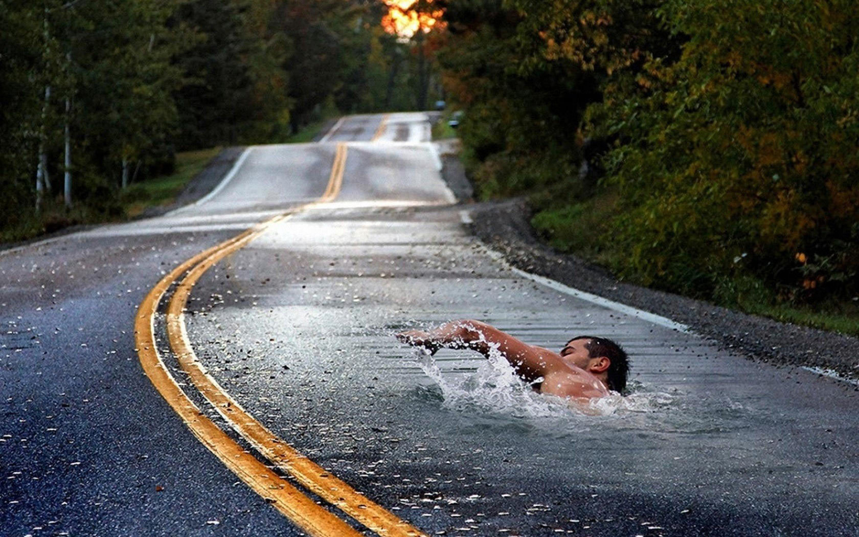 Men weird swimming roads HD Wallpaper