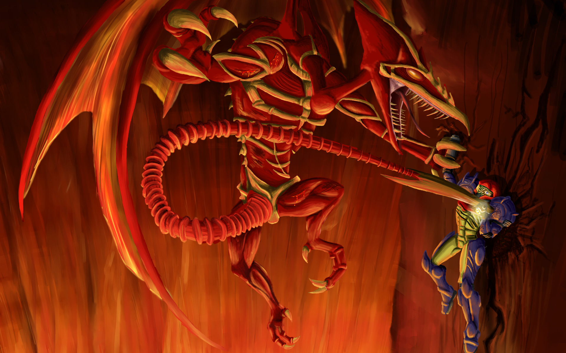 metroid Dragons samus aran HD Wallpaper