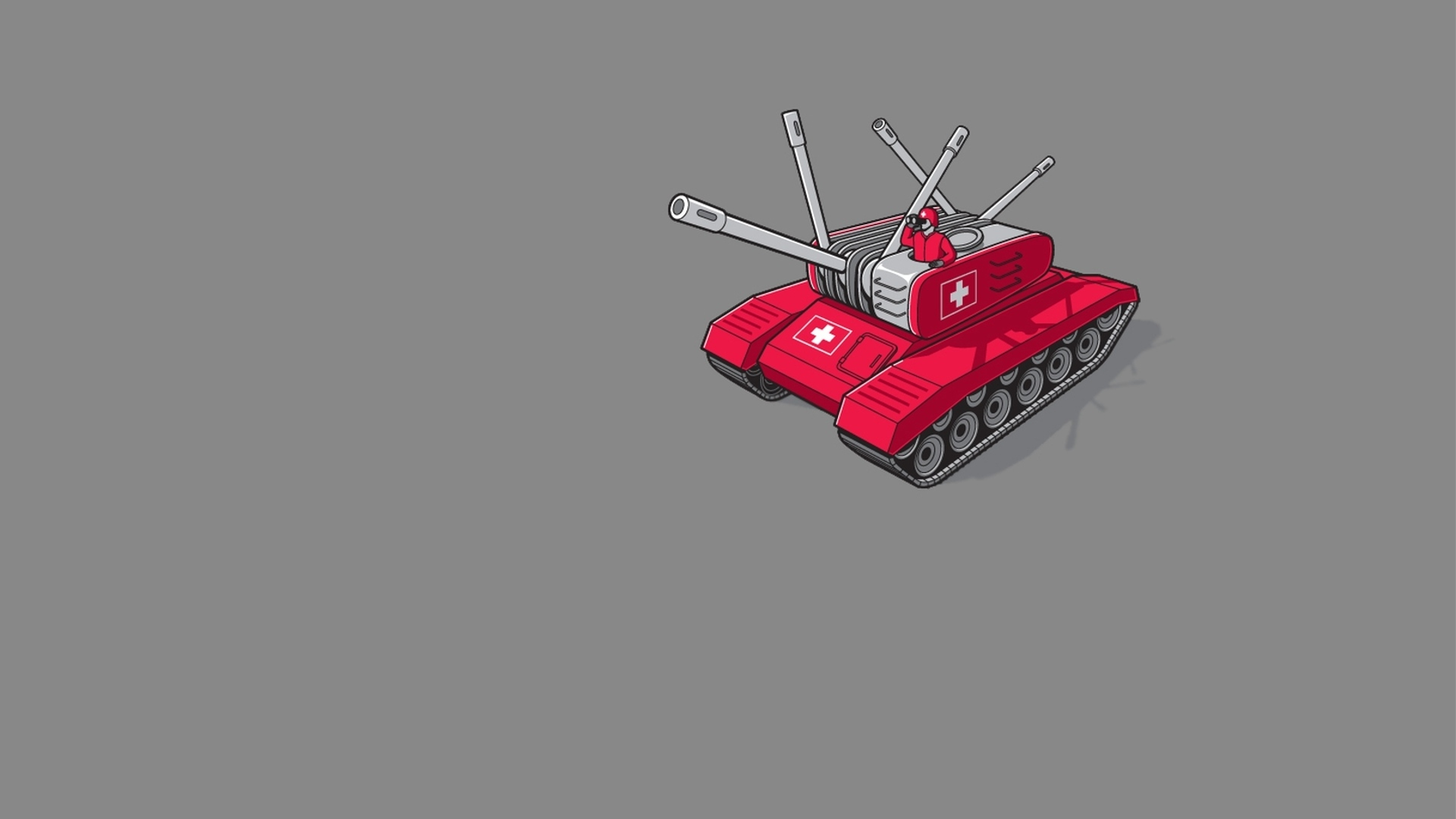 minimalistic Army funny tanks HD Wallpaper