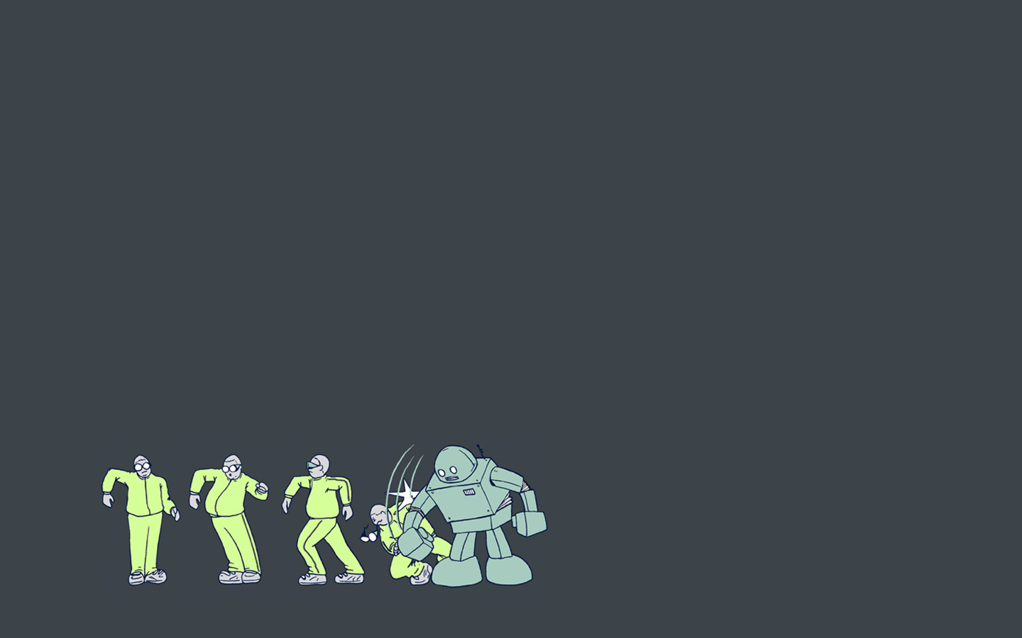 minimalistic robot funny dance HD Wallpaper