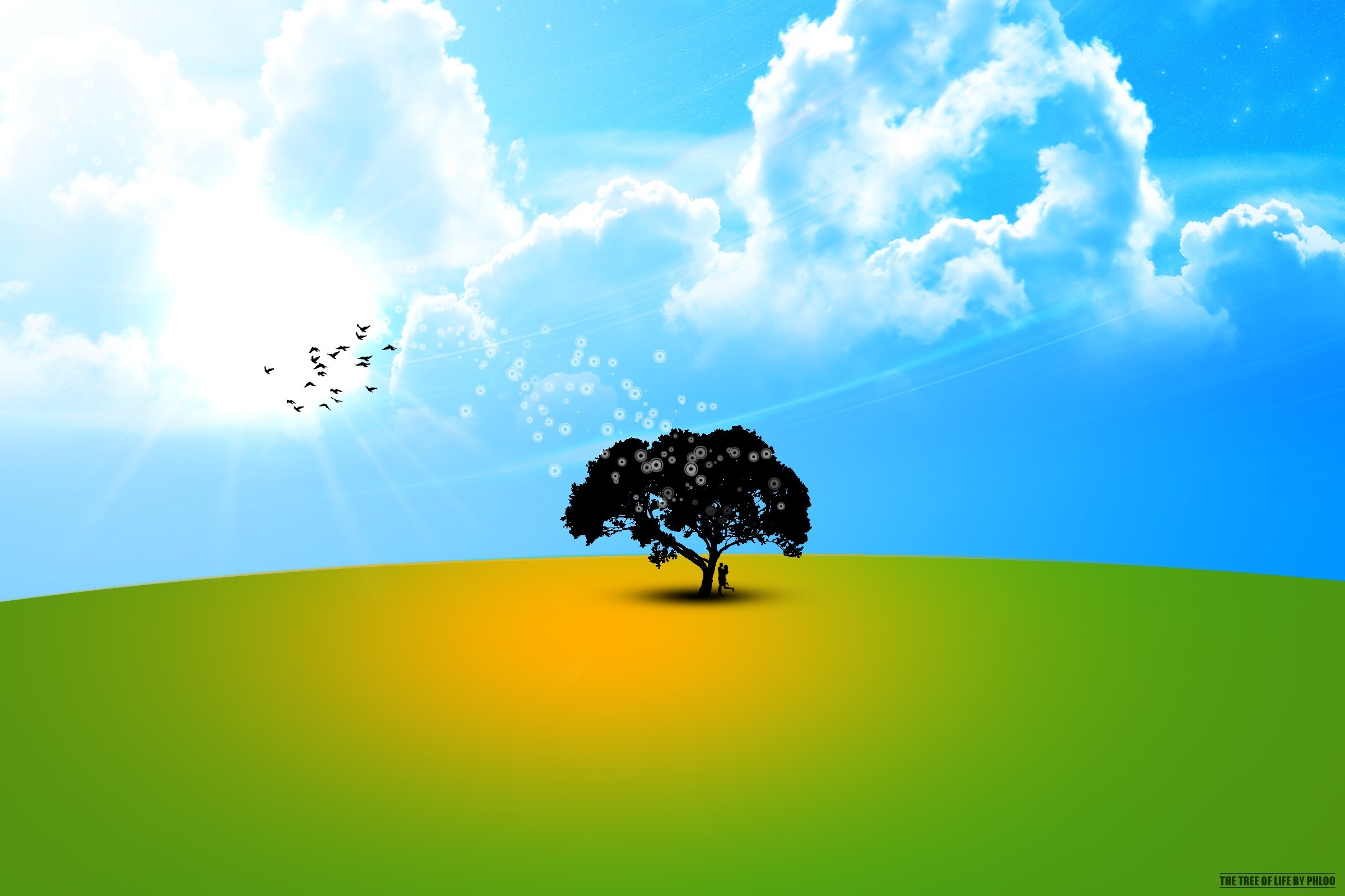 minimalistic Trees vectors skyscapes HD Wallpaper