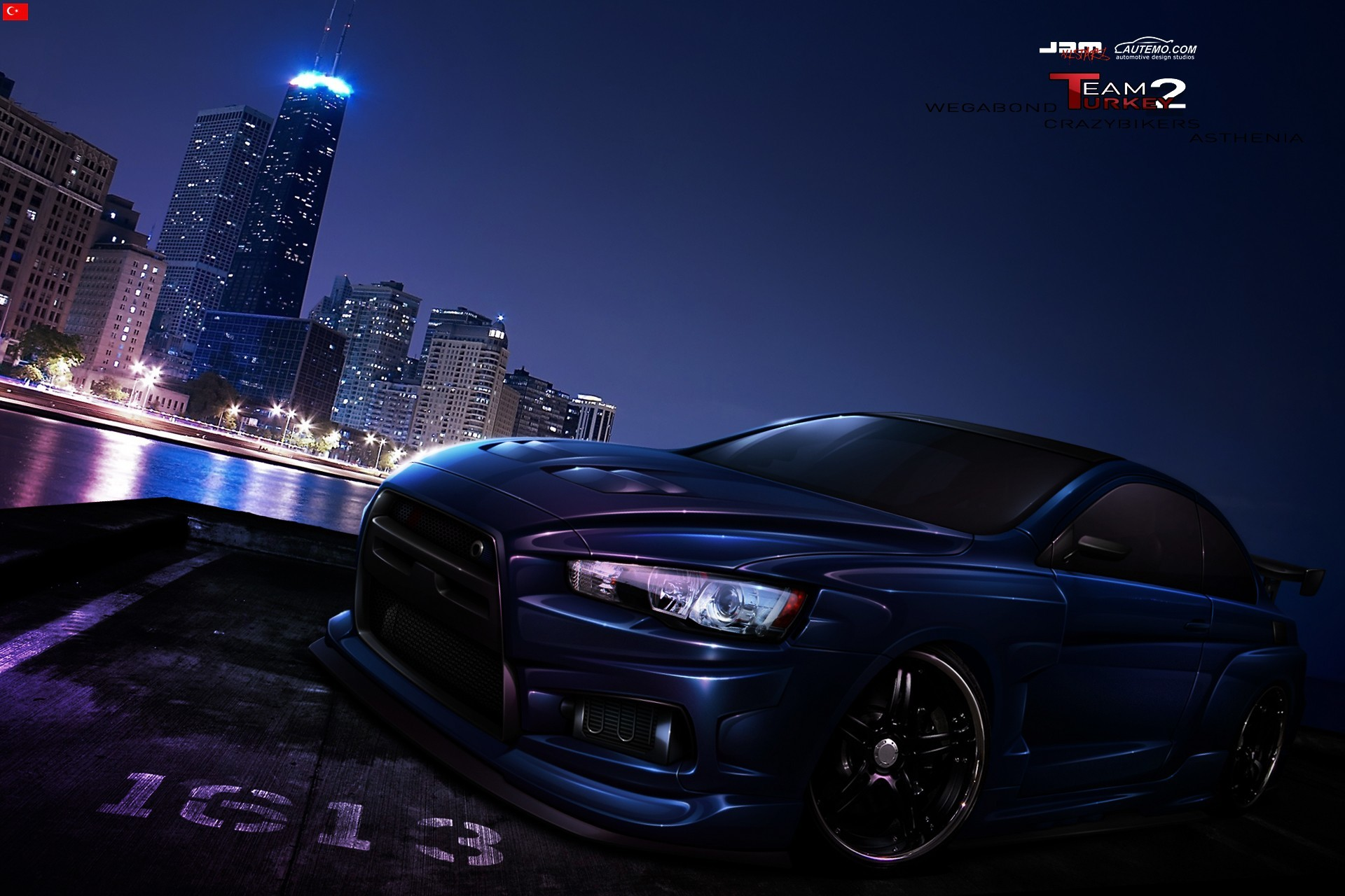 Mitsubishi Evo cityscapes pink HD Wallpaper
