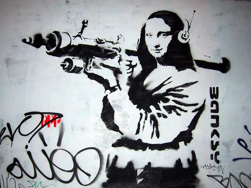 Mona Lisa street art HD Wallpaper