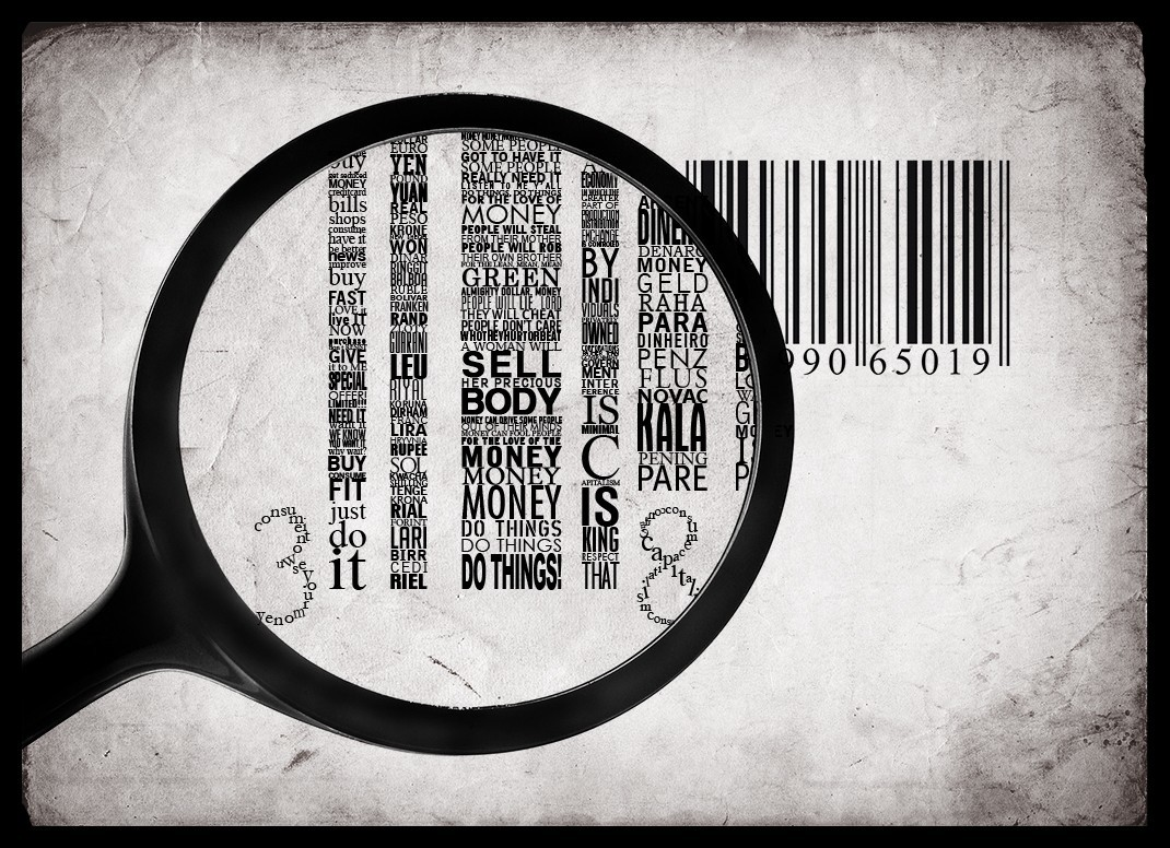 Money Typography barcode magnifying HD Wallpaper